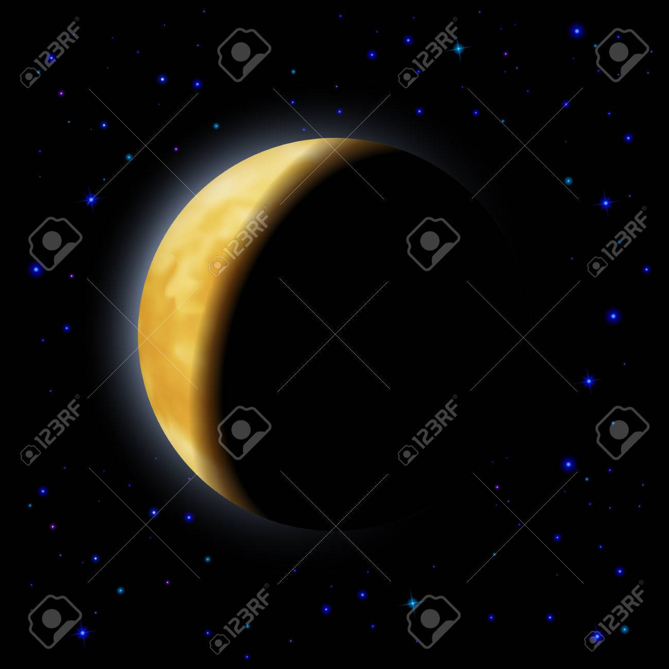 Partial eclipse of the moon in shadows space right side Stock Vector - 29202501
