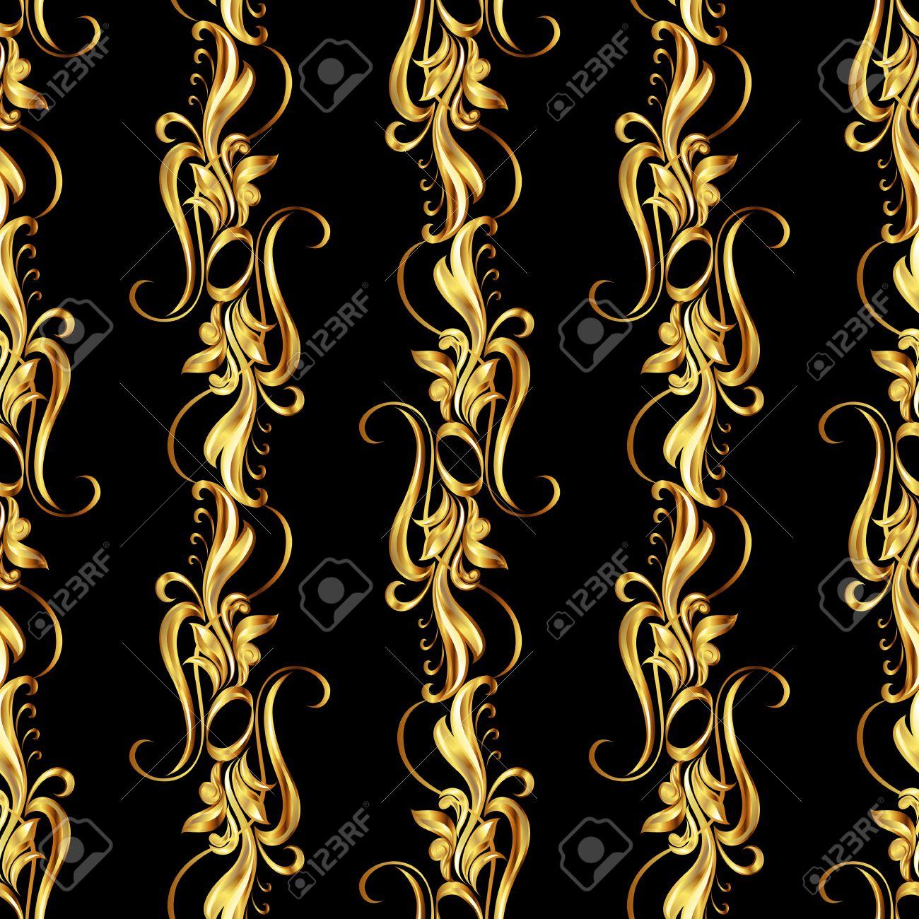 b2301d48da91 Fondo de pantalla transparente con el patrón oro. cinco líneas verticales  en forma de vides