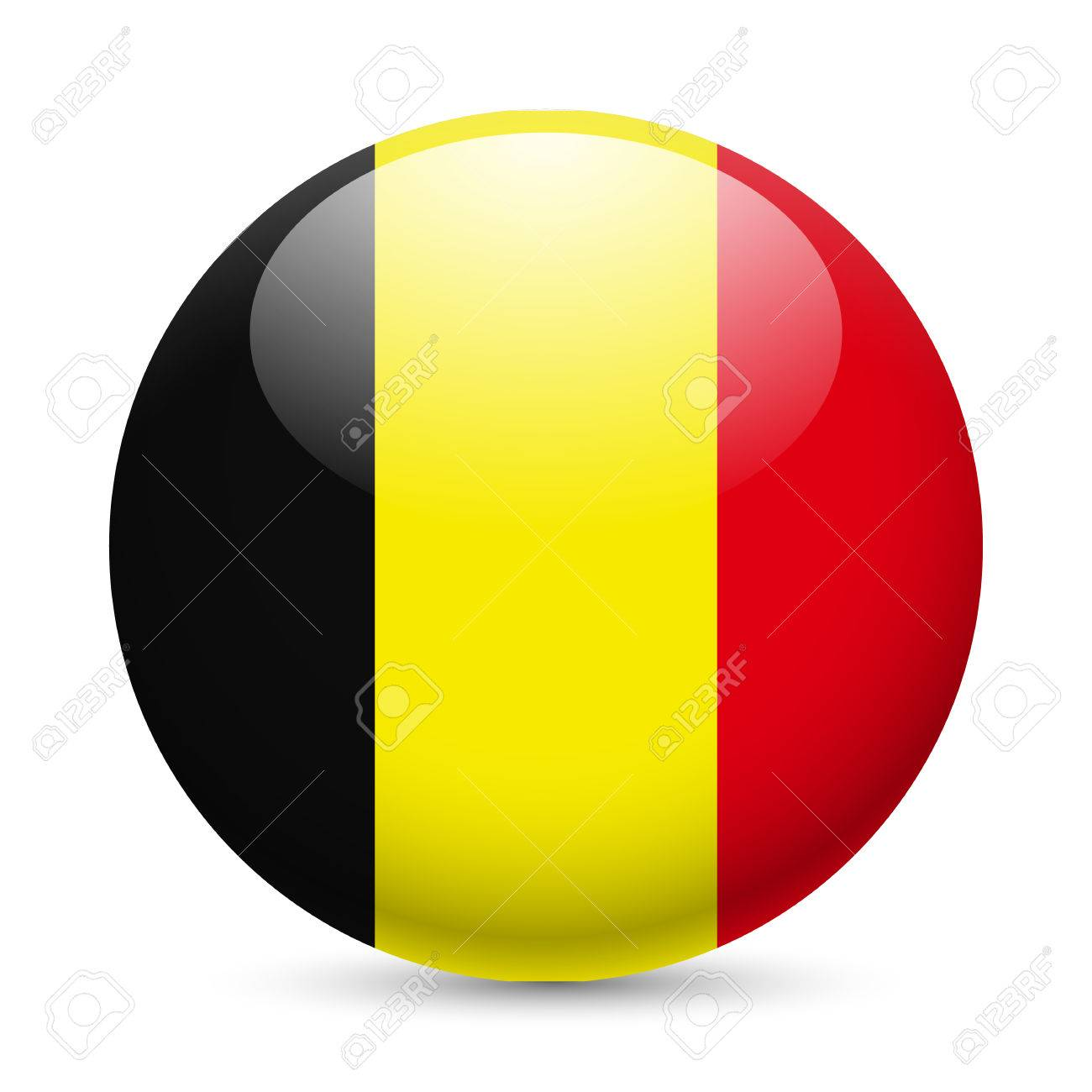 Flag of Belgium as round glossy icon. Button with Belgian flag Stock Vector - 29186293