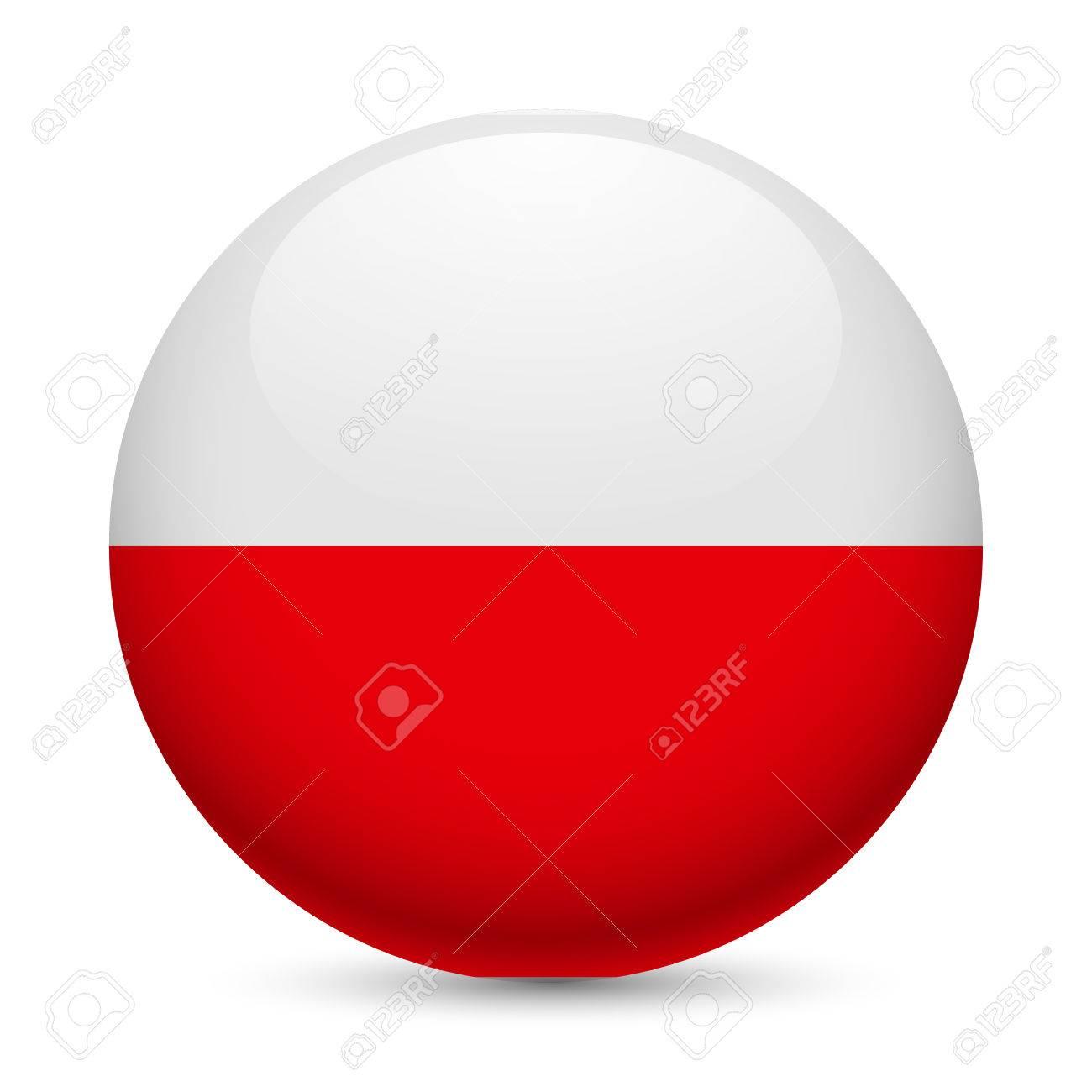 flag of poland as round glossy icon button with polish flag