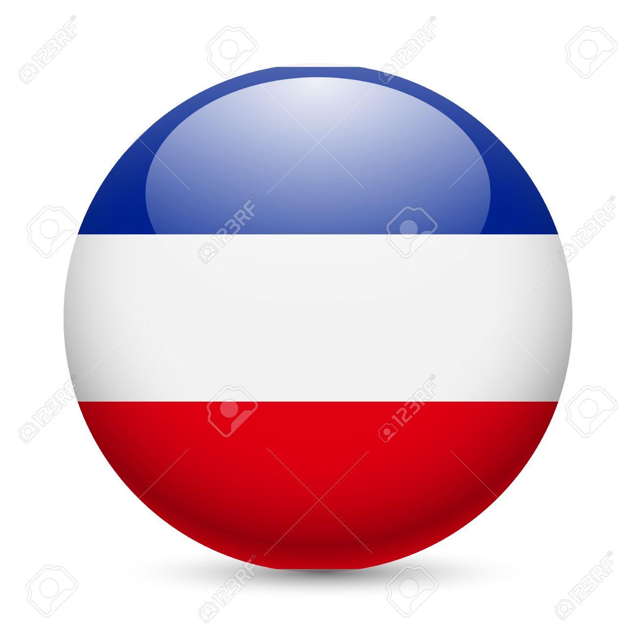 Flag of Yugoslavia as round glossy icon. Button with Yugoslavian flag Stock Vector - 29186305