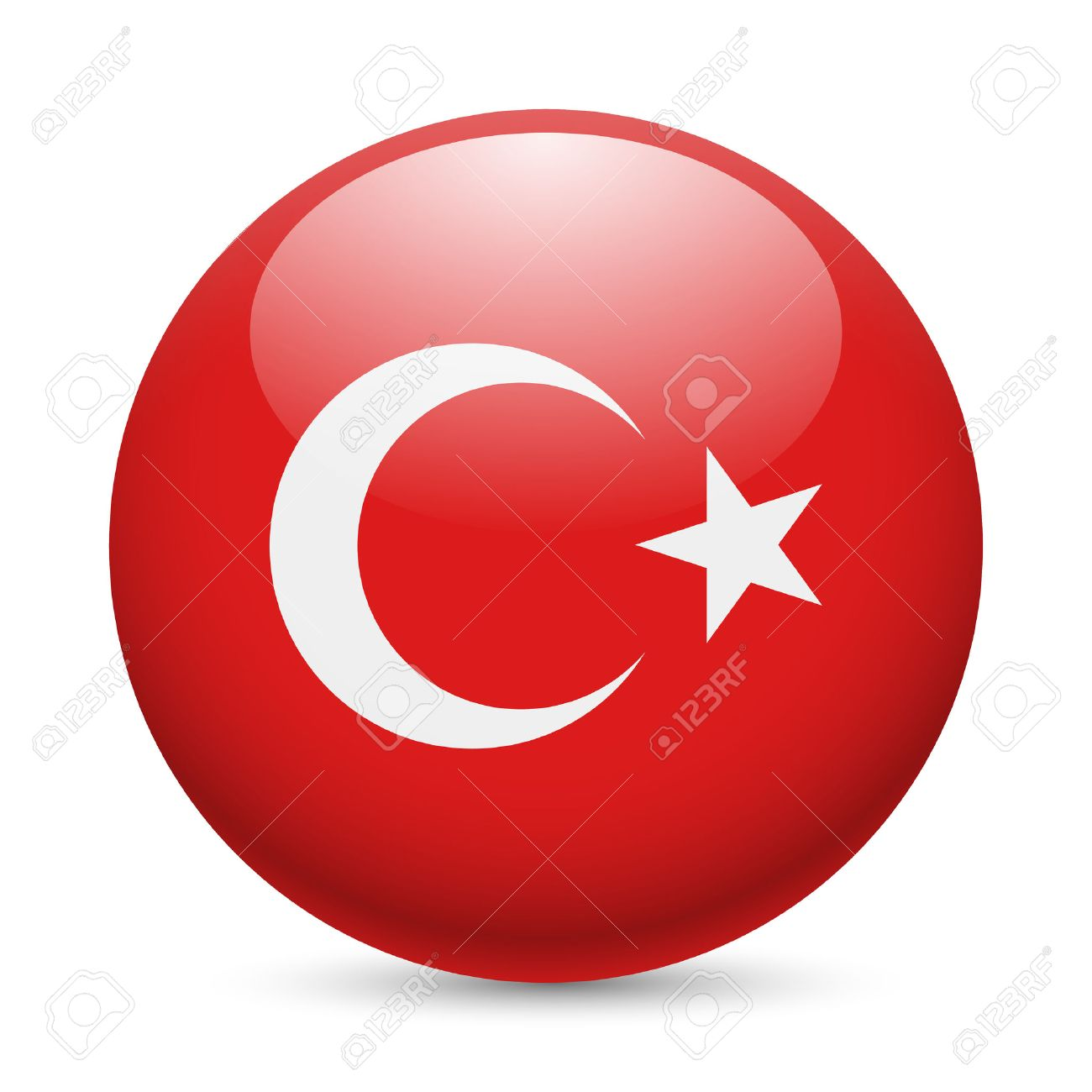 flag of turkey as round glossy icon button with turkish flag