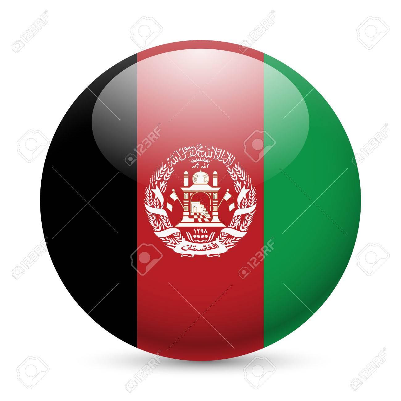 Flagge Von Afghanistan Als Runde Glanzend Symbol Button Mit