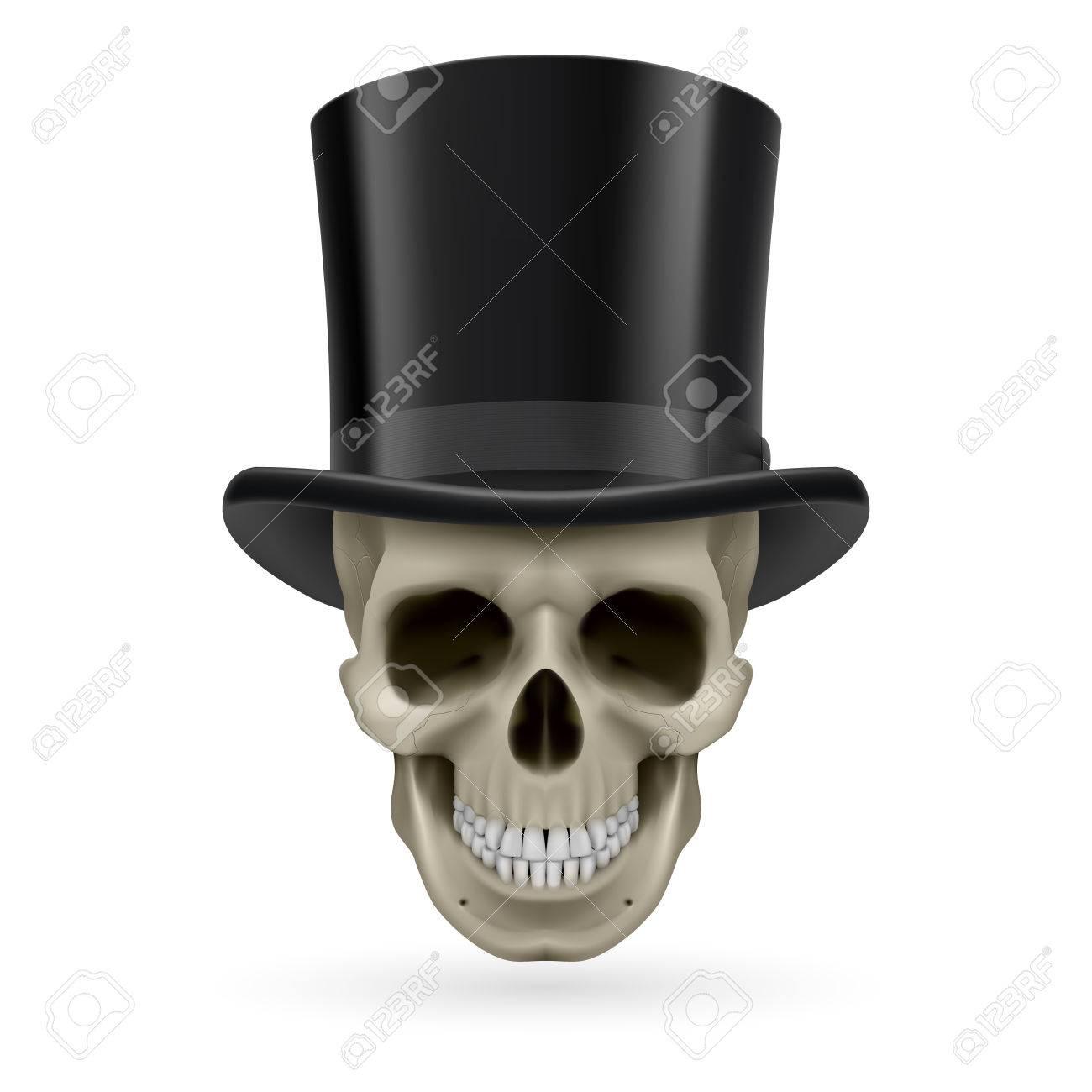 Cráneo humano con un sombrero de copa negro. Foto de archivo - 29256874 5476084adb3