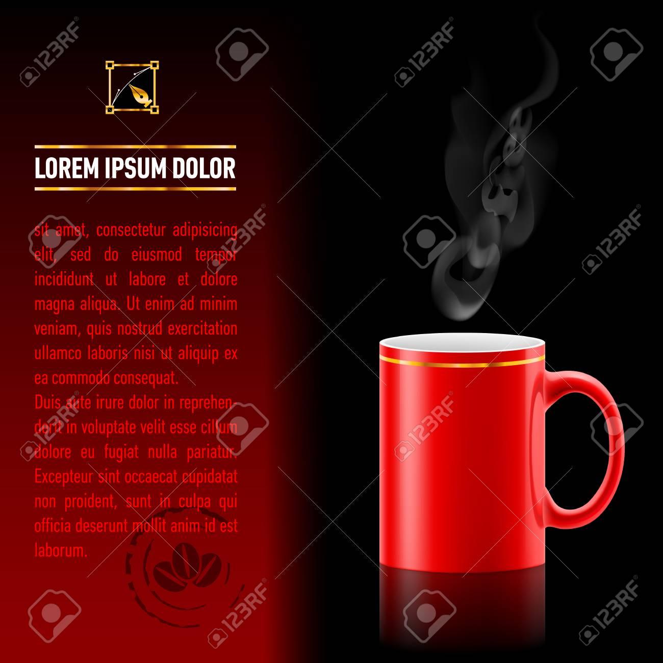 Rosso Tazza Di Soggiorno Caffè Su Sfondo Nero. Foglio Successivo Di ...