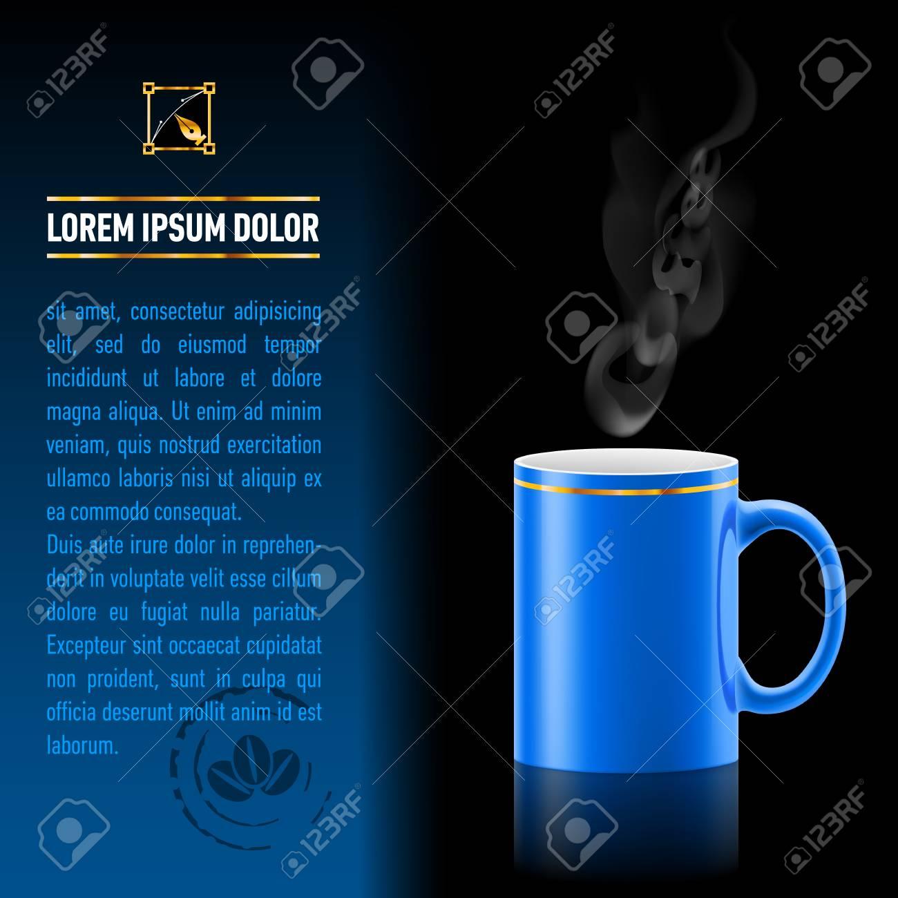 Blu tazza di soggiorno caffè su sfondo nero. Foglio successivo di carta con  il test