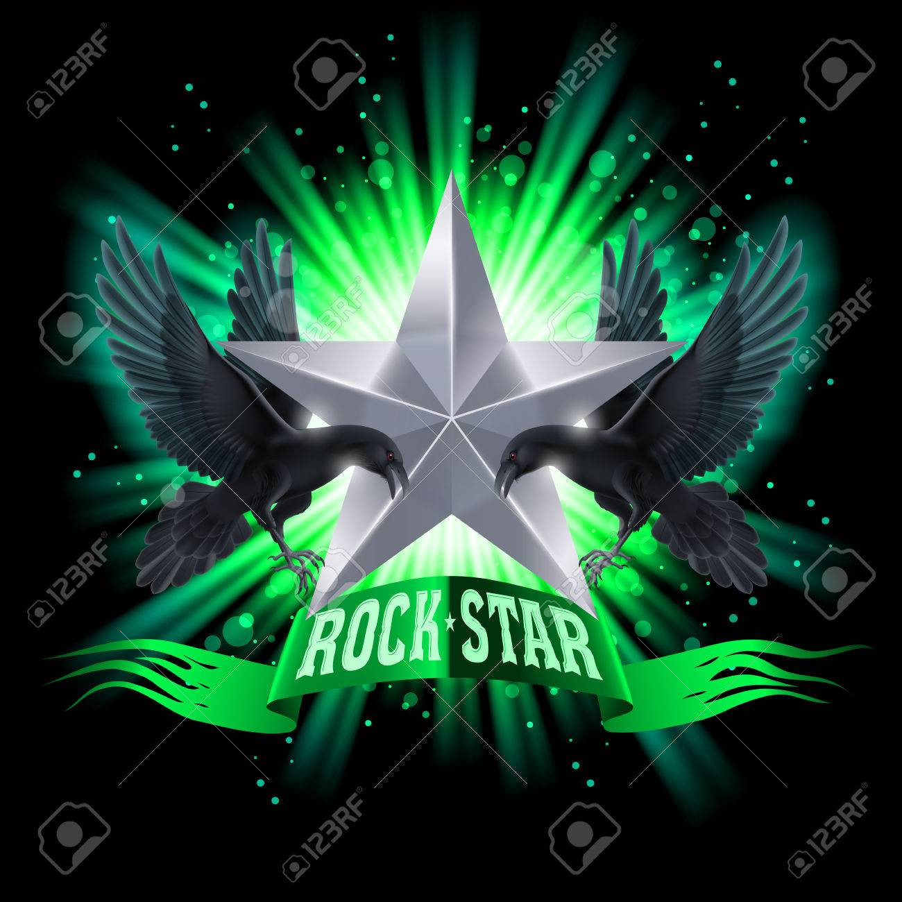 Green Rock Star Banner With Two Ravens Over Shining Background