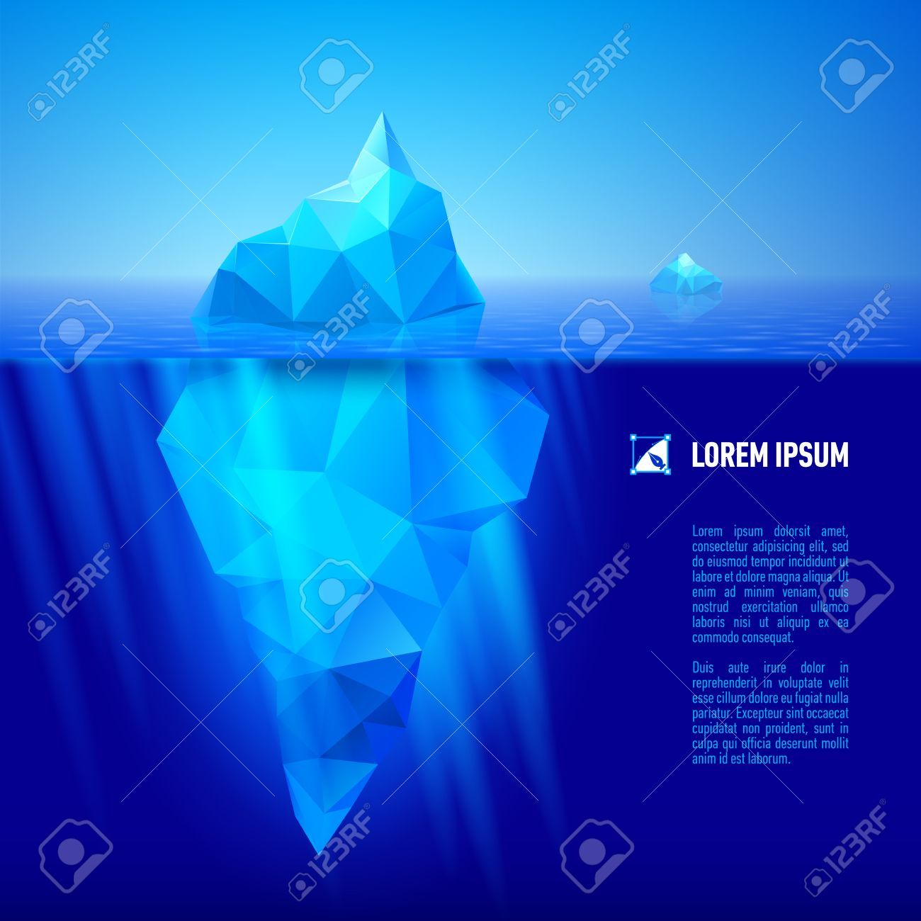 big blue iceberg drifting in the sea. Half of it is under water. Stock Vector - 29644636