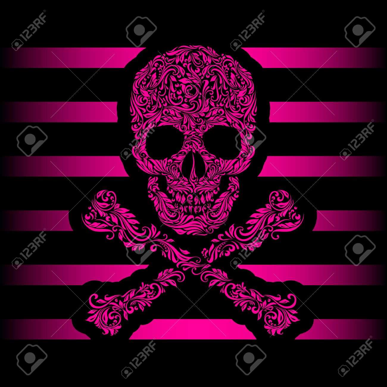 Floral pattern of form pink skull and crossbones. Pink stripes. Emo Stock Vector - 29779008
