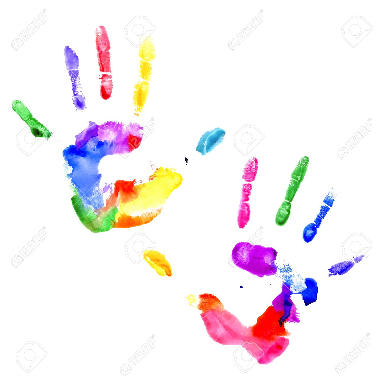 Left and right handprints painted in different colors on white background Stock Vector - 29779065