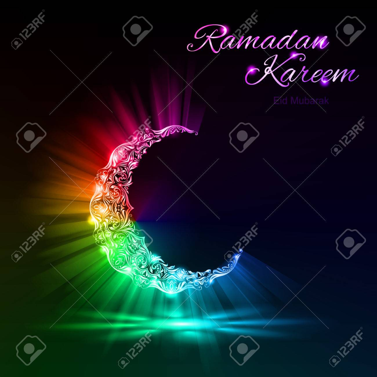 Glowing Moon Crescent With Bright Flare And Radiance In Spectral Colors Greeting Card Of Holy