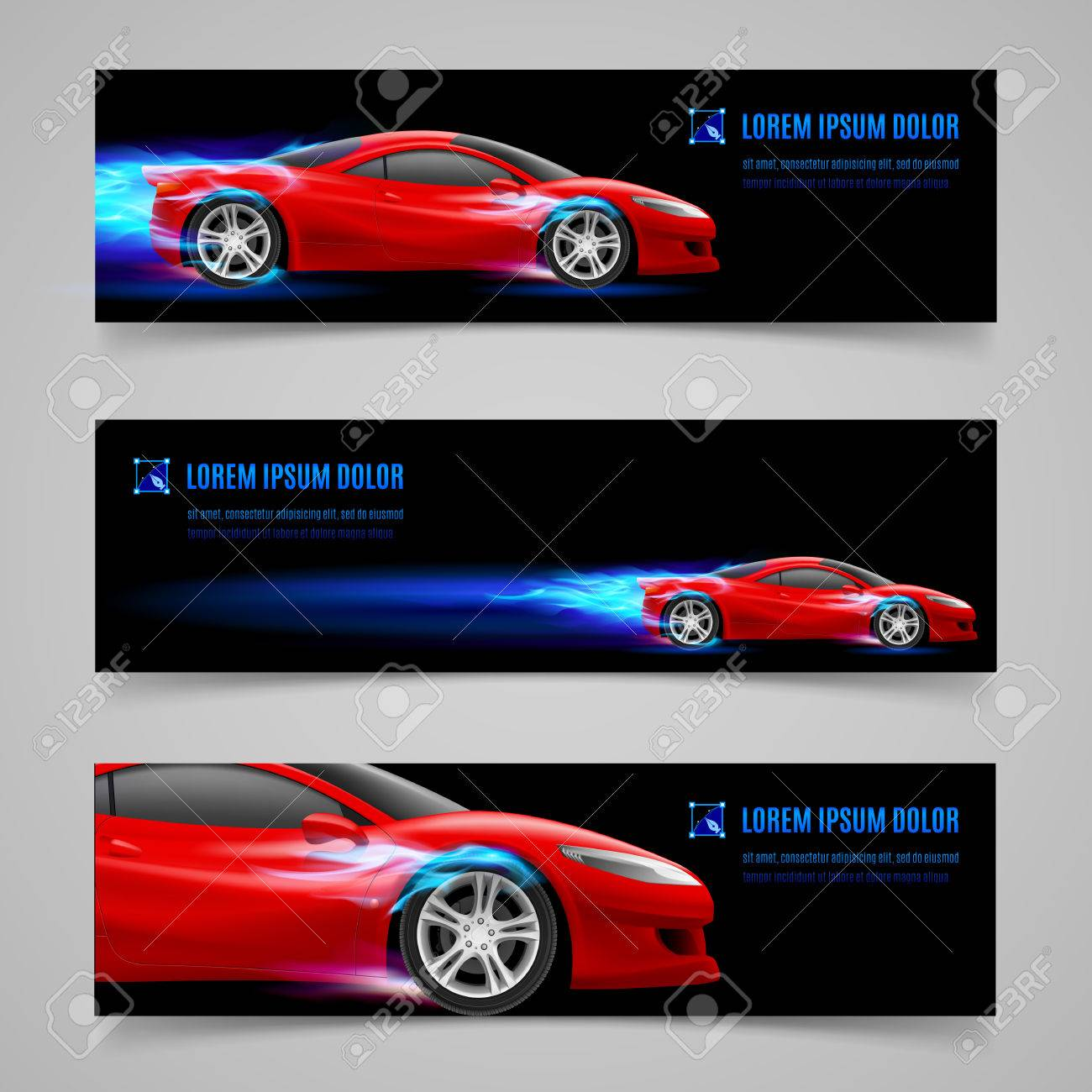 Set of banners with racing car in blue flame Stock Vector - 30017591