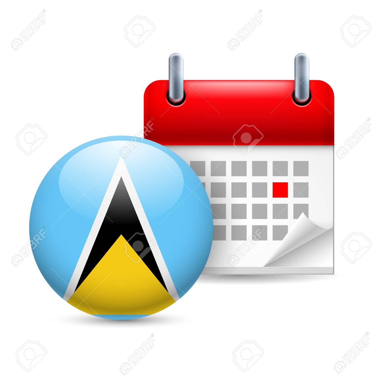 Santa Lucia Calendario.Calendario Y Icono De Bandera Ronda Fiesta Nacional En Santa Lucia