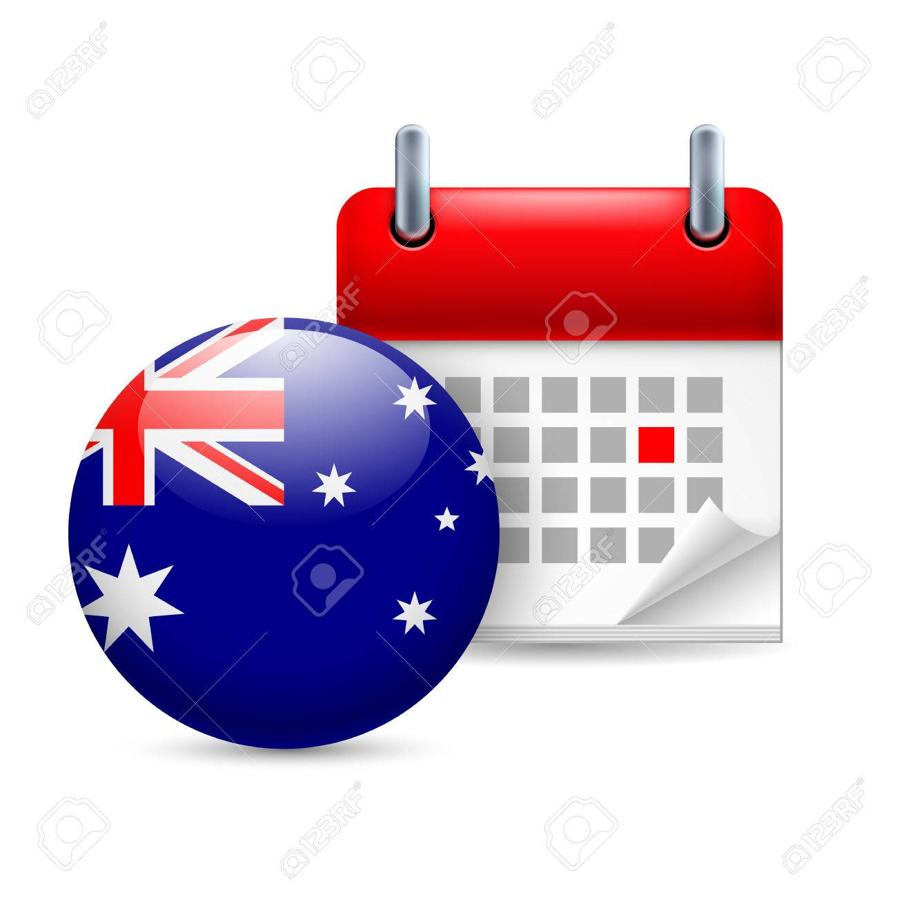 Calendar and round Australian flag icon. National holiday in Australia Stock Vector - 30077973