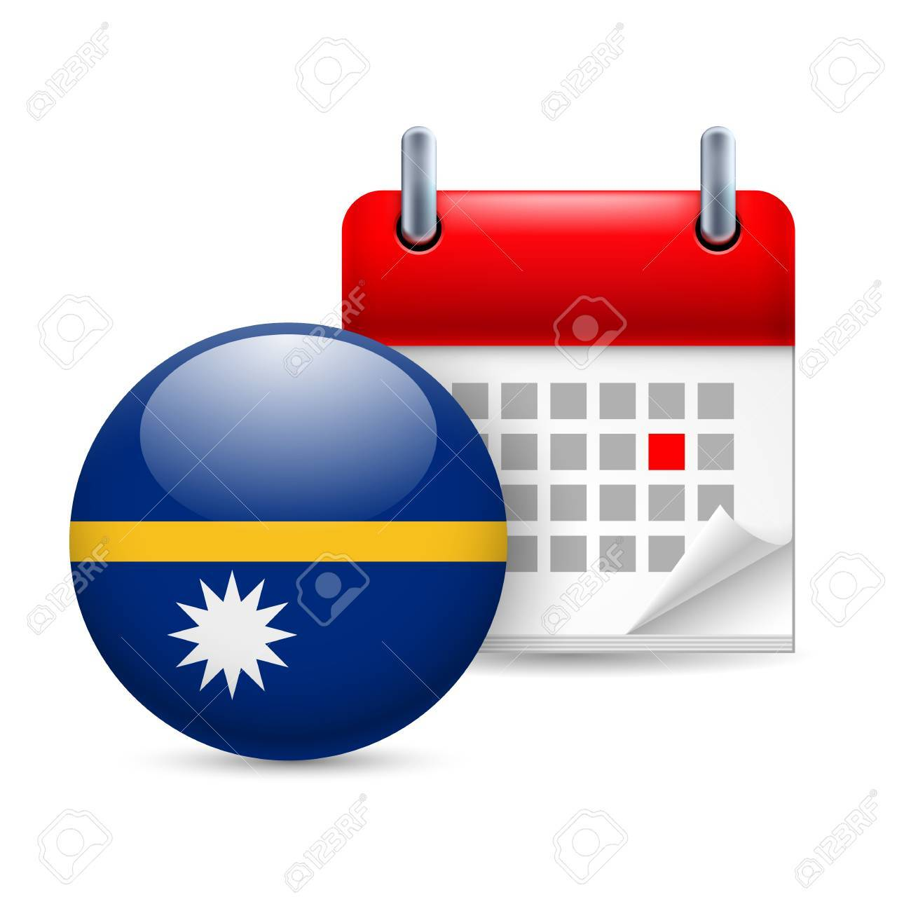 Calendar and round flag icon. National holiday in Nauru Stock Vector - 30078079