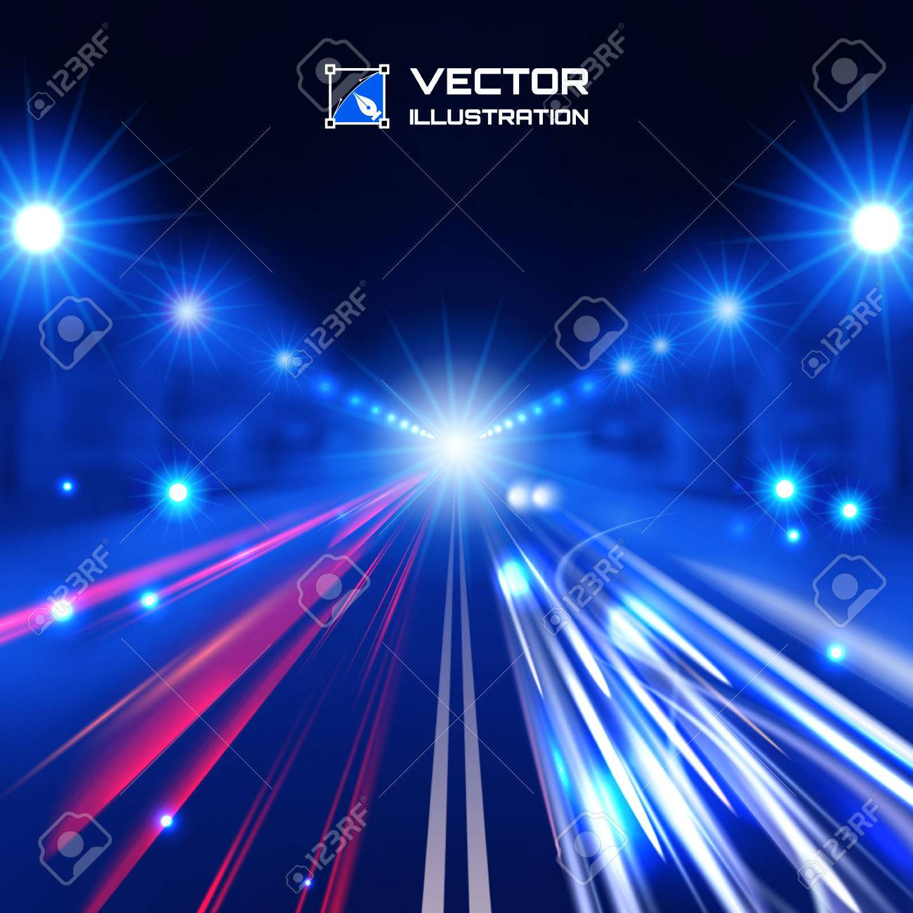 blue tint night road with glowing lights, bokeh and speed lines Stock Vector - 30177802