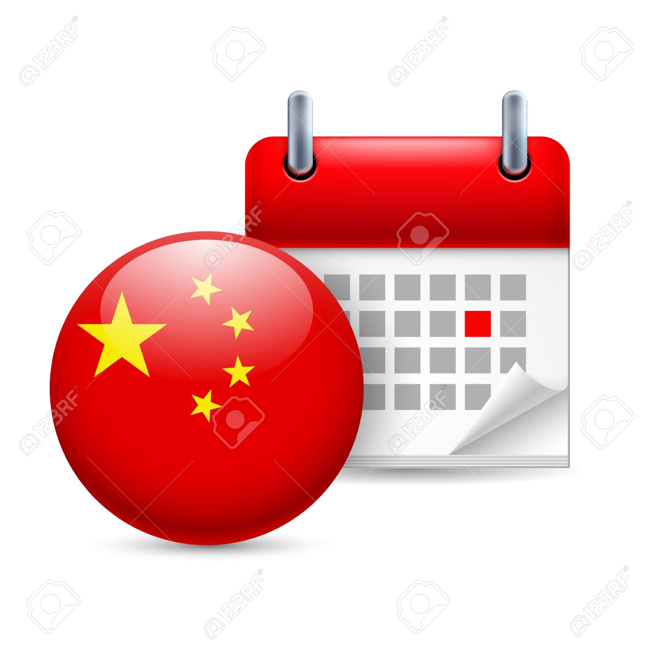 Calendar And Round Chinese Flag Icon National Holiday In China Royalty Free Cliparts Vectors And Stock Illustration Image 30221993