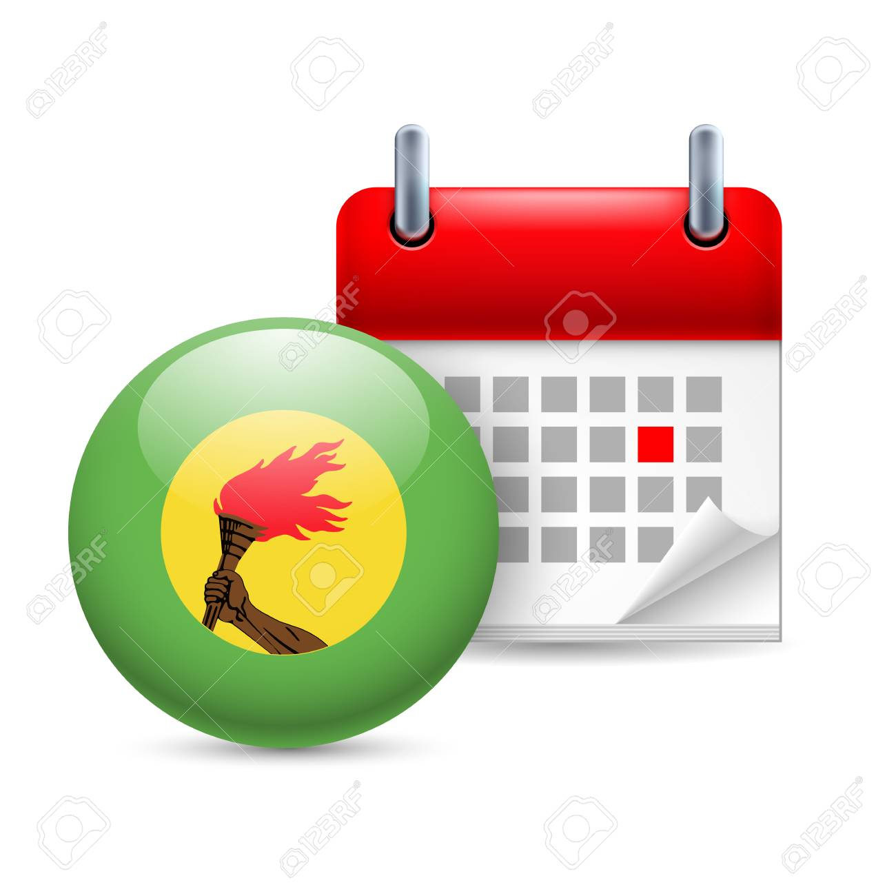 Calendar and round flag icon. National holiday in Zaire Stock Vector - 30220380