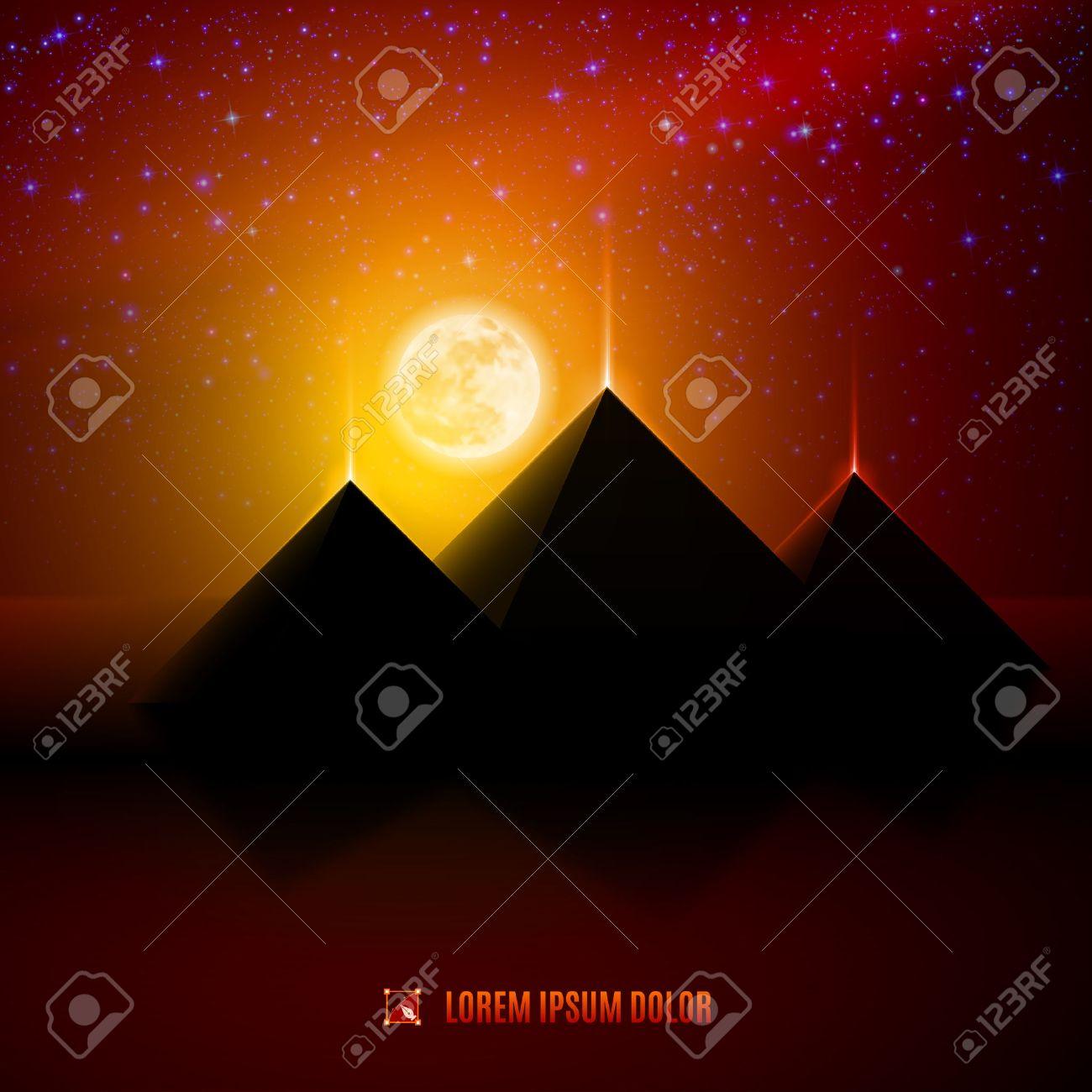 Red and orange night  egypt  desert  landscape background  illustration with moon, pyramids, landmark and stars Stock Vector - 30221760