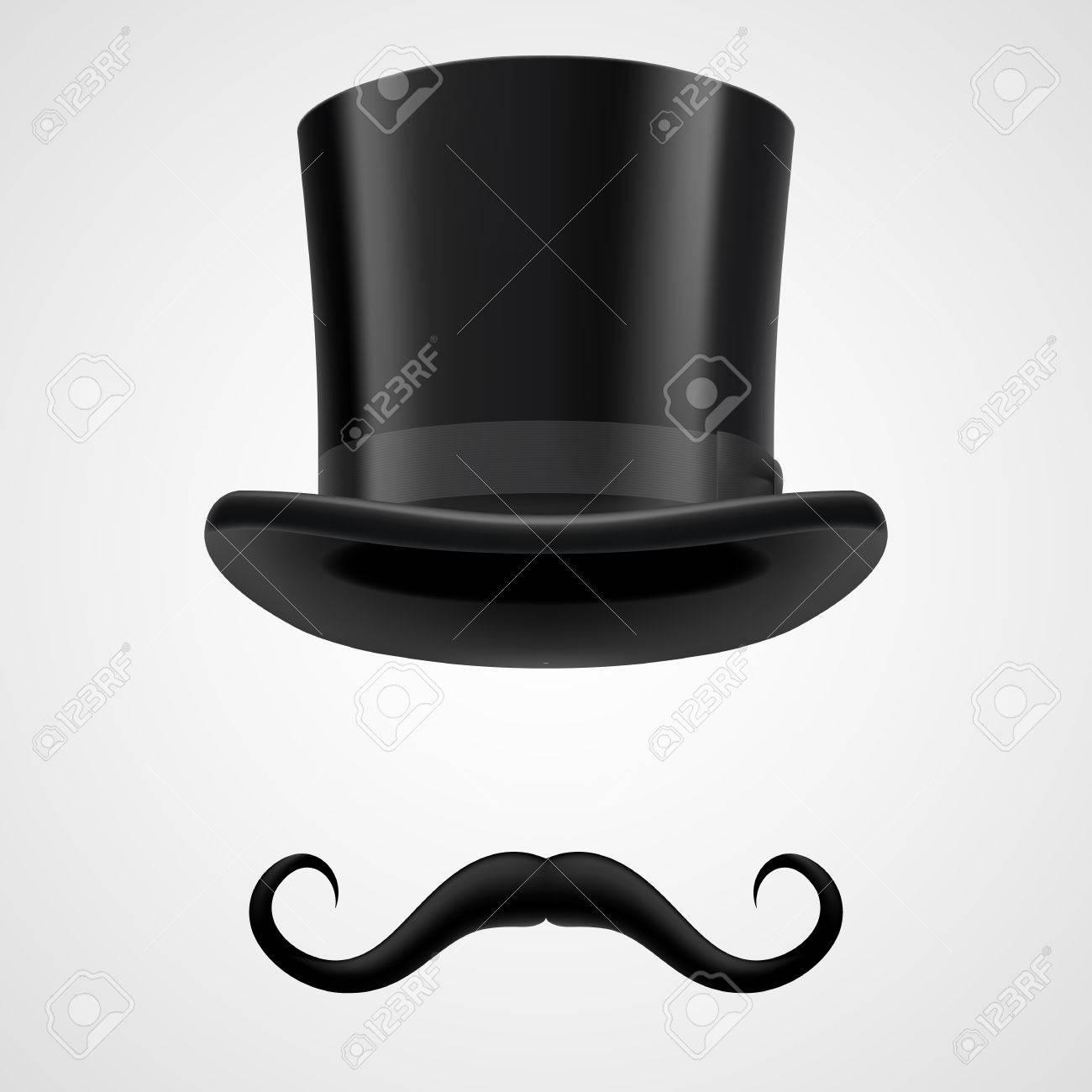 grande sconto per stili di moda quantità limitata Baffi ricci e neri stovepipe retrò cappello, divertente mago su grigio  bacground