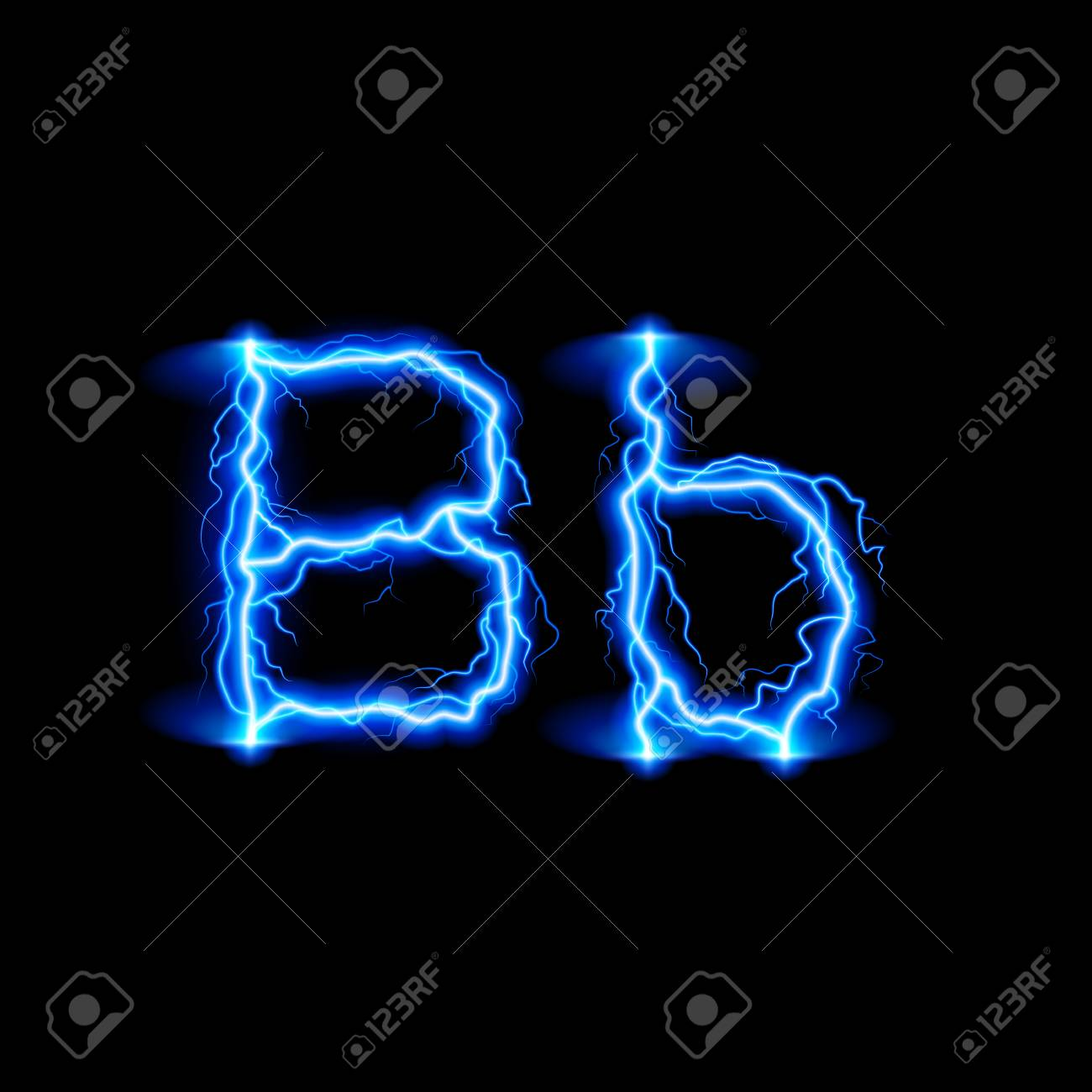 Uppercase And Lowercase Letters B In Lighting Style Royalty Free