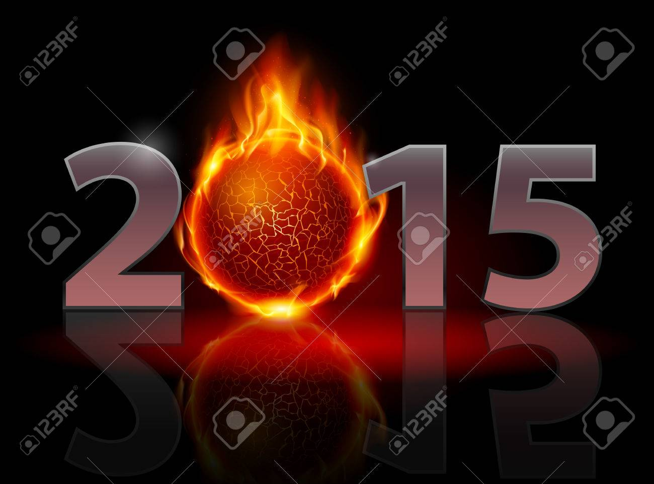 New Year 2015: metal numerals with fire ball instead of zero having weak reflection. Illustration on black background Stock Vector - 32267569
