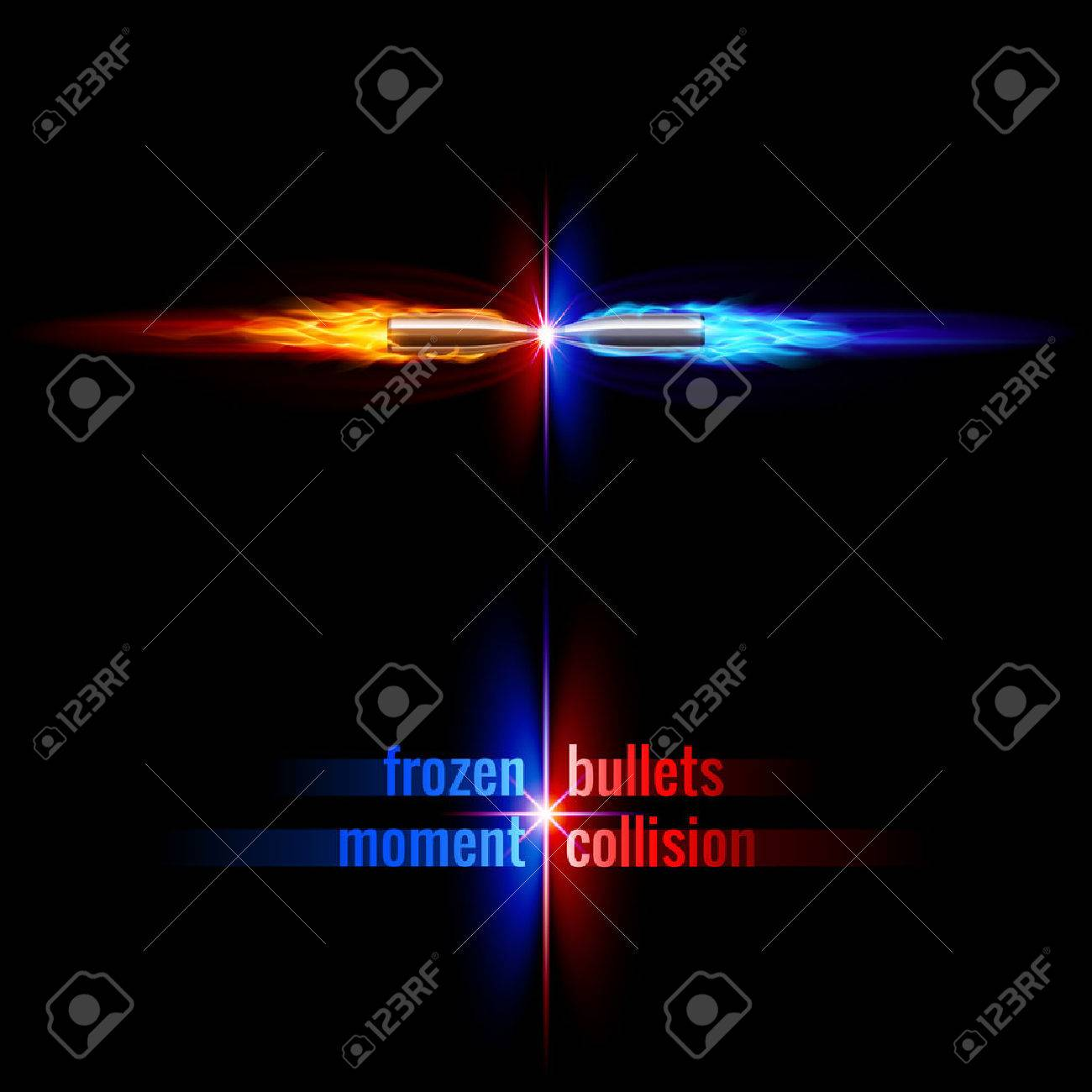 Frozen moment of two bullets collision in orange and blue flame Stock Vector - 32802172