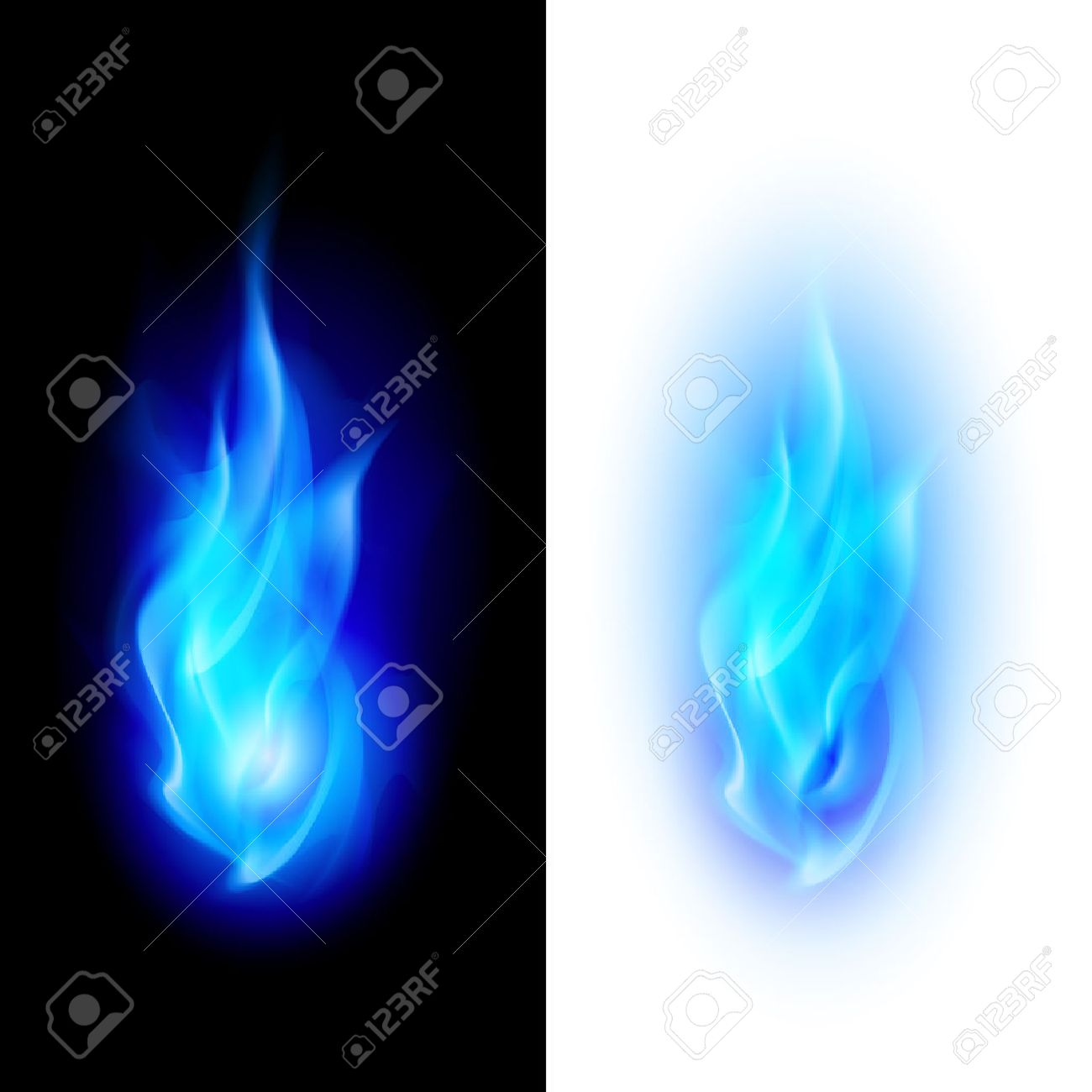 Blue fire flames over contrast black and white backgrounds Stock Vector - 33259458