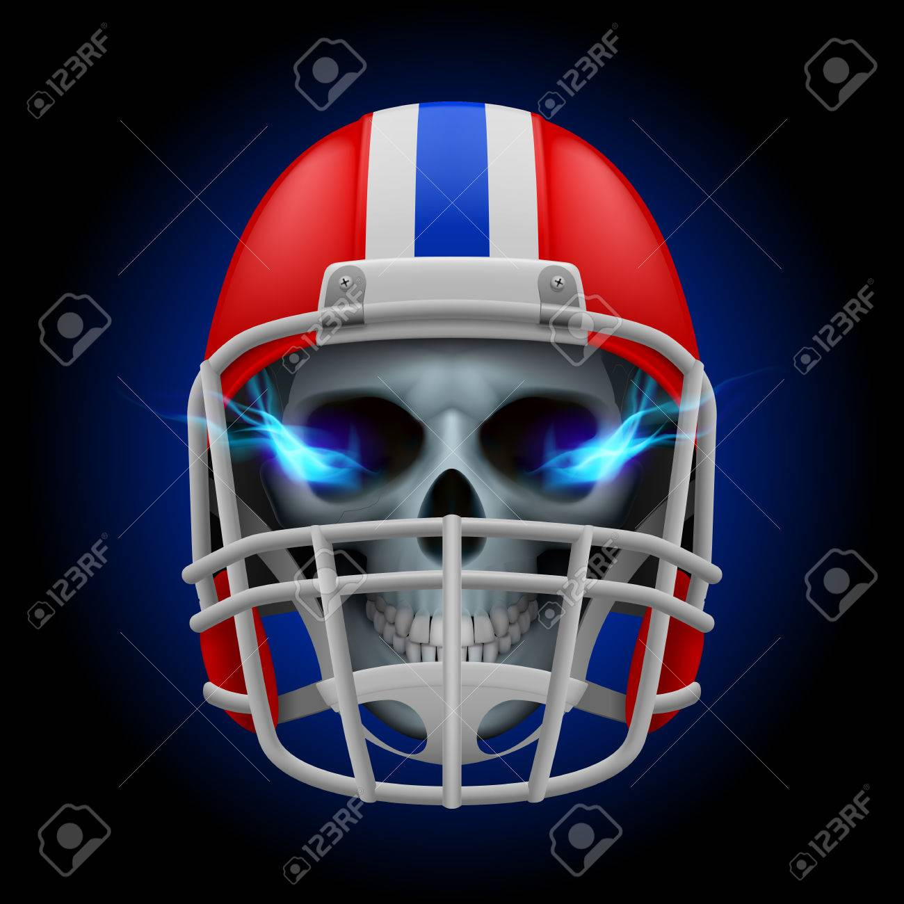 Red Football Helmet With Blue Fire Eyes Skull On A Black Background Royalty Free Cliparts Vectors And Stock Illustration Image 35026776