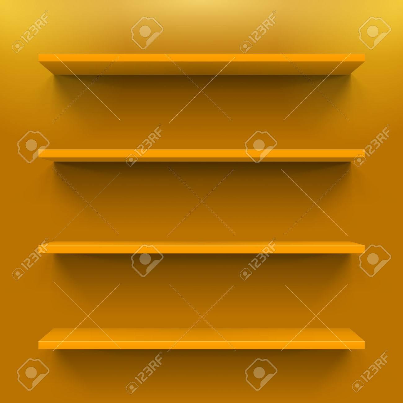 Prime Four Horizontal Orange Bookshelves On The Orange Wall Beutiful Home Inspiration Xortanetmahrainfo