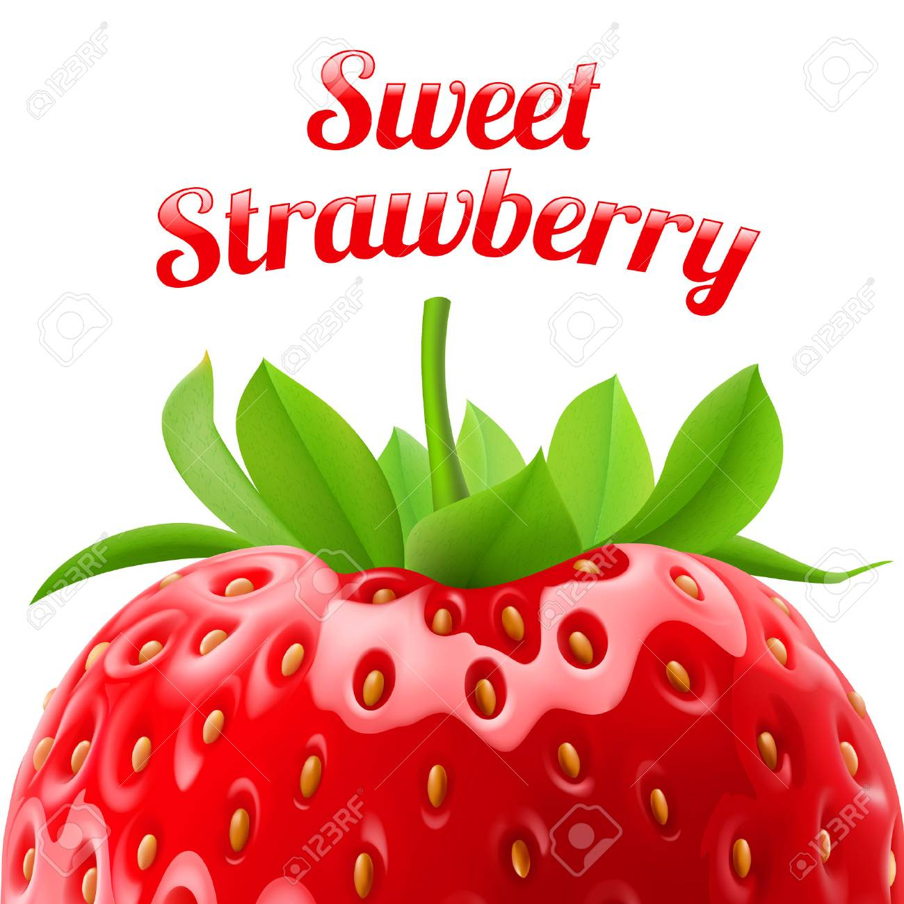 Poster sweet strawberries. Fruit and dessert. Space for text Stock Vector - 37075760