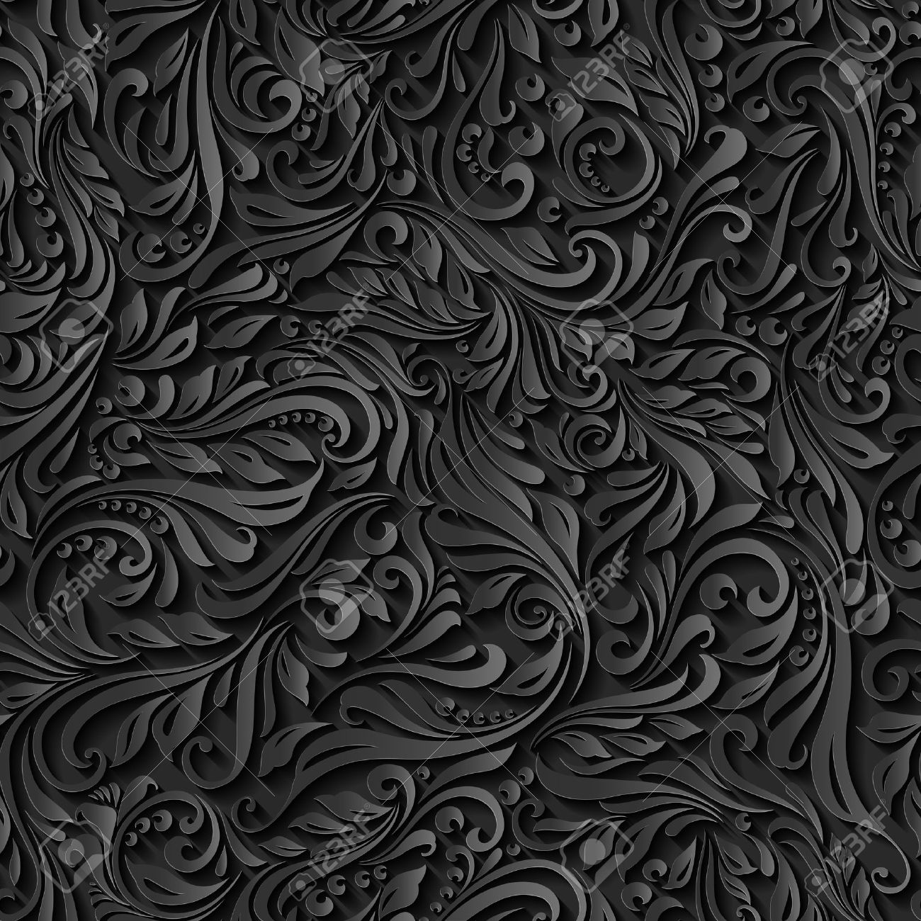 Illustration of seamless abstract black floral  vine pattern Stock Vector - 37302621