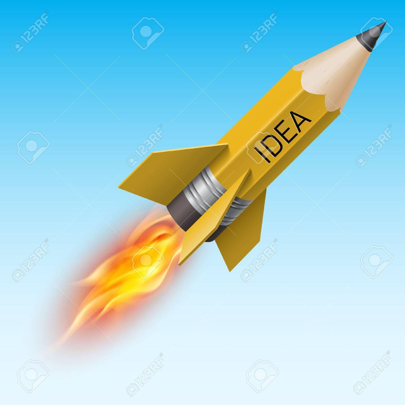 Creative design concept with yellow pencil as flying rocket Stock Vector - 37433365