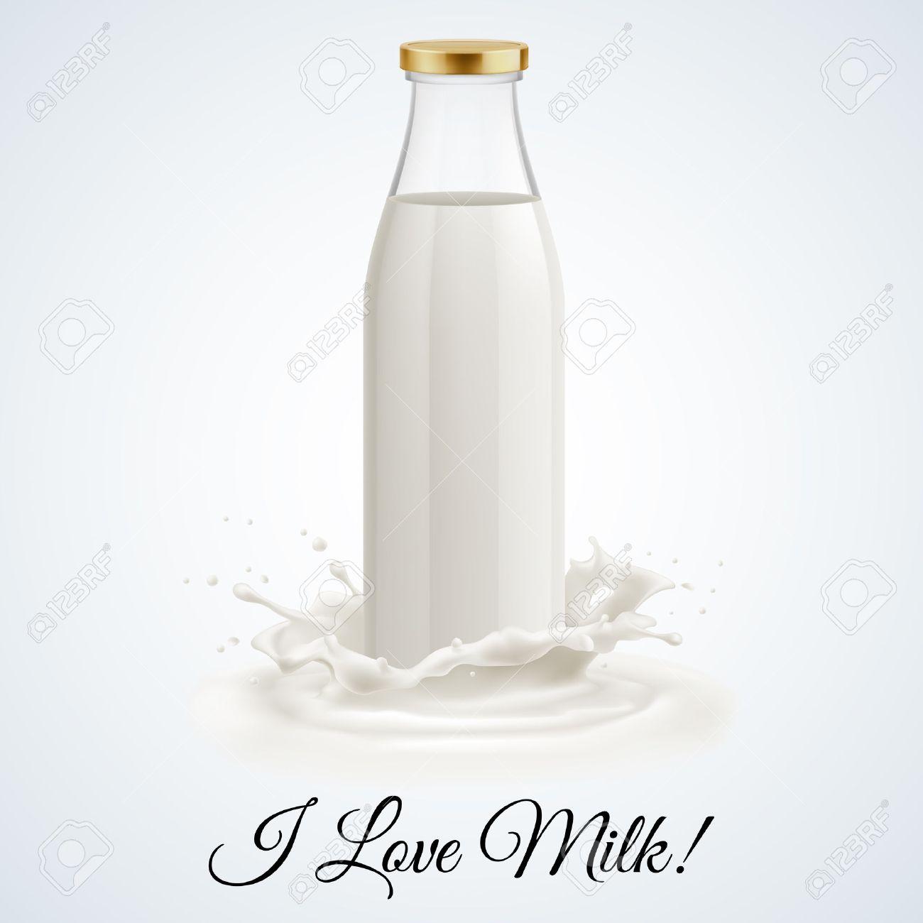 Banner I love milk. Closed glass bottle of milk Stock Vector - 37751553