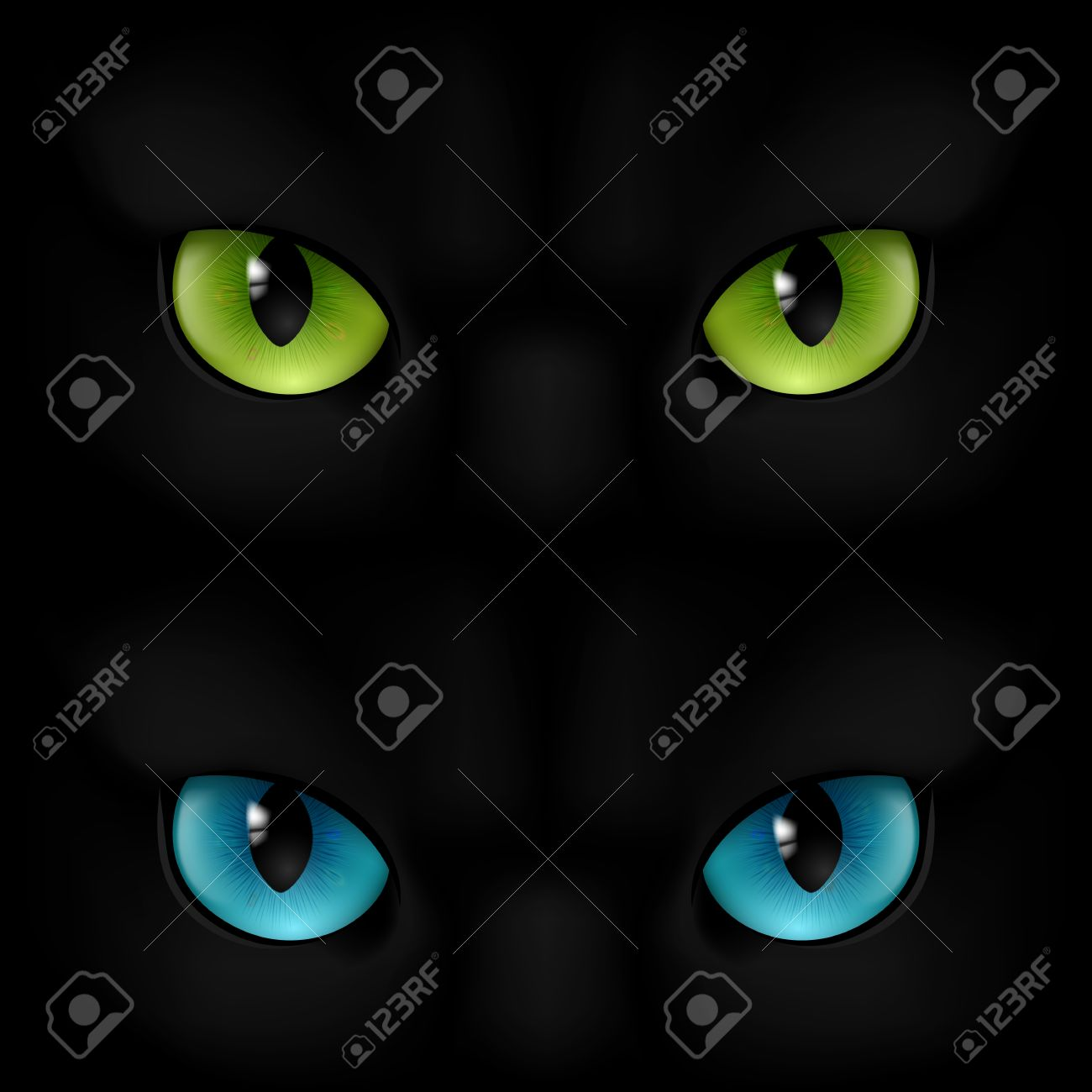 scary eyes scary eyes: Green and blue cats eyes on a black background