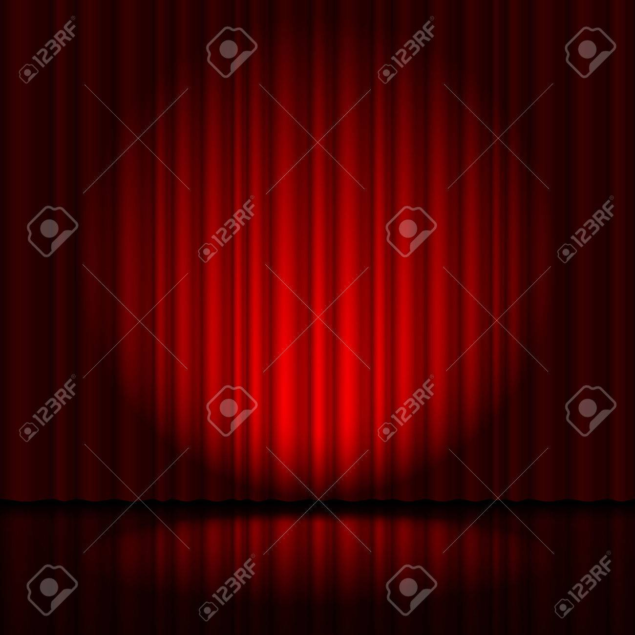 Red curtain from the theatre with a spotlight Stock Photo - 40181239