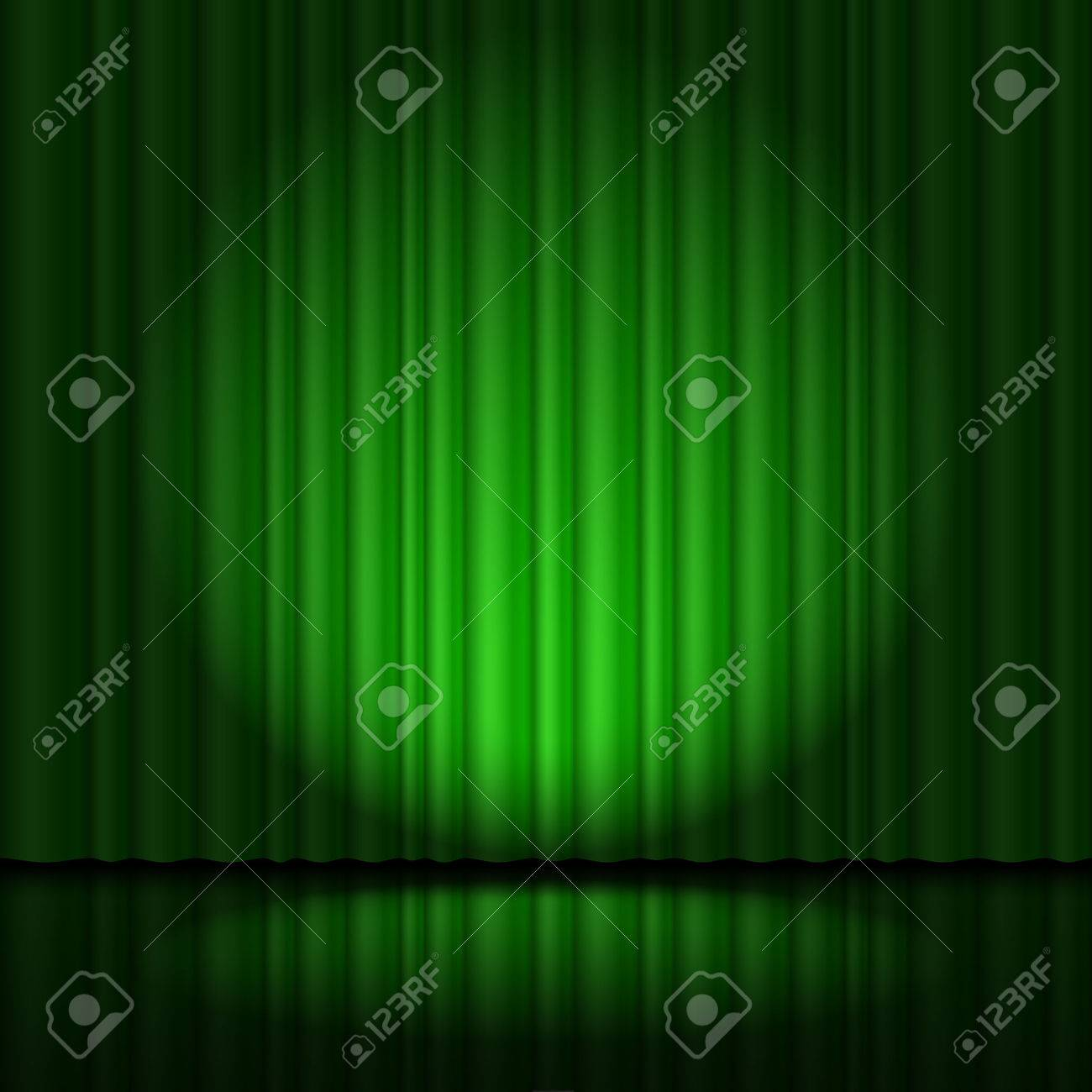 Stage with green curtain and spotlight great, heart-shaped Stock Vector - 40222821
