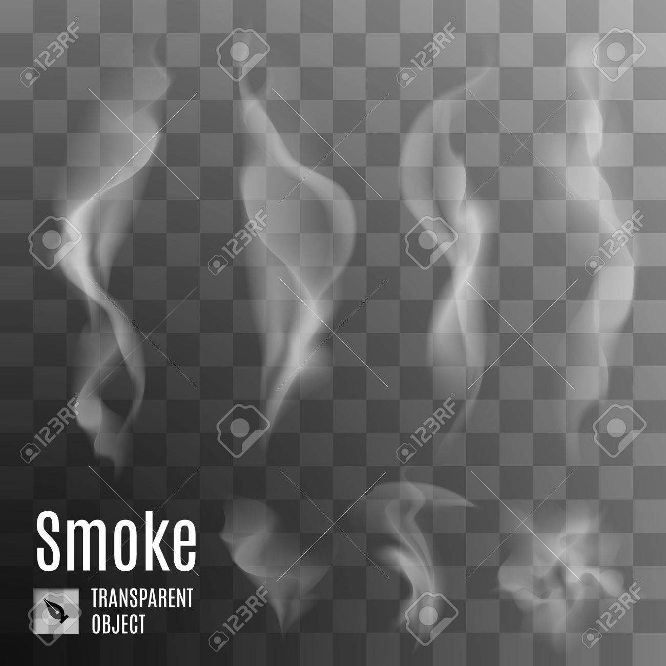 Set of transparent smoke on a plaid background Stock Vector - 40291008