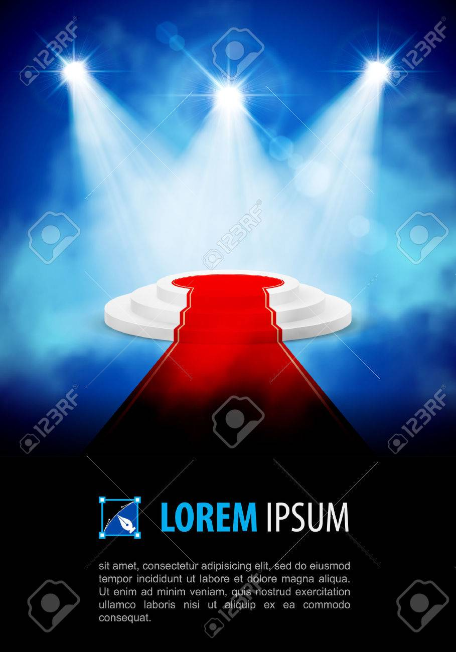 Podium with red carpet at the smoke spotlight Stock Vector - 40556577