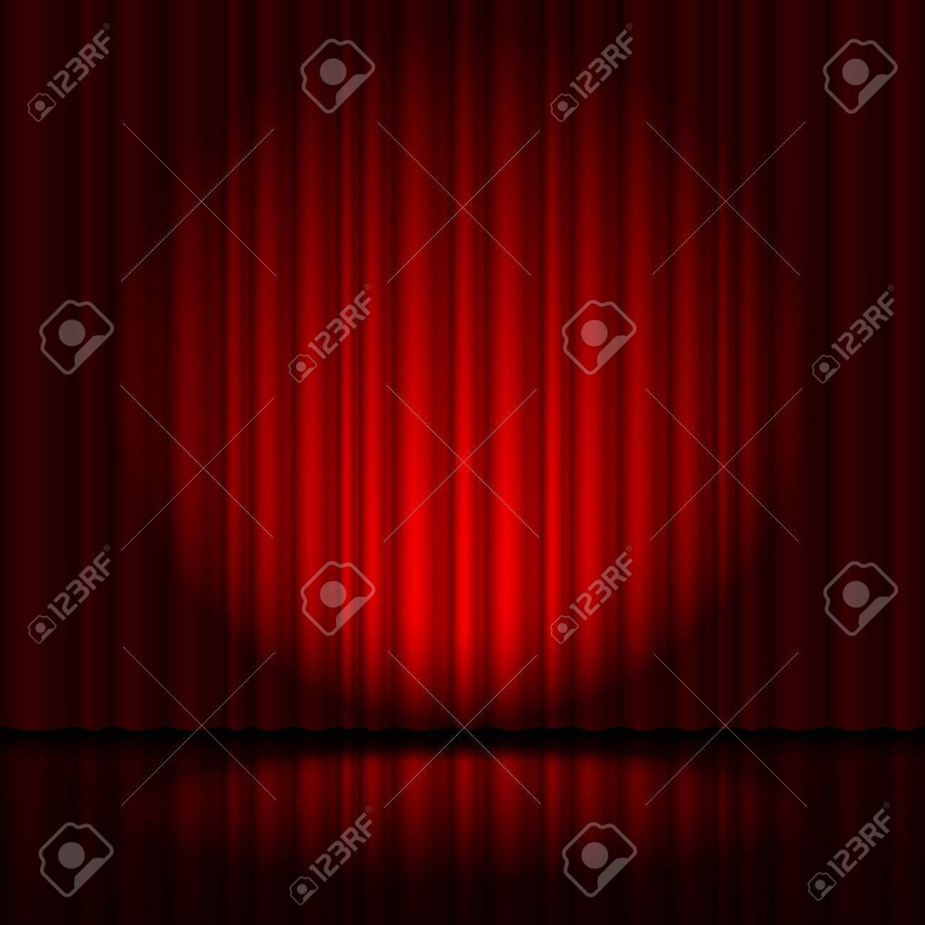 Red curtain from the theatre with a spotlight Stock Vector - 40557033