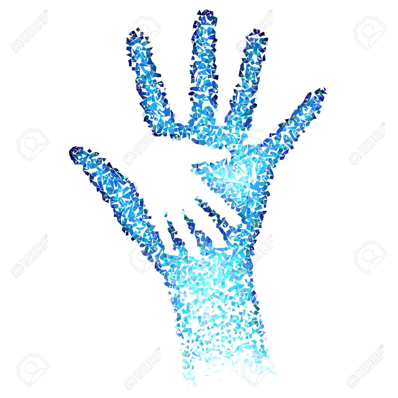 Helping Hands. Abstract illustration in blue color Stock Vector - 40964680
