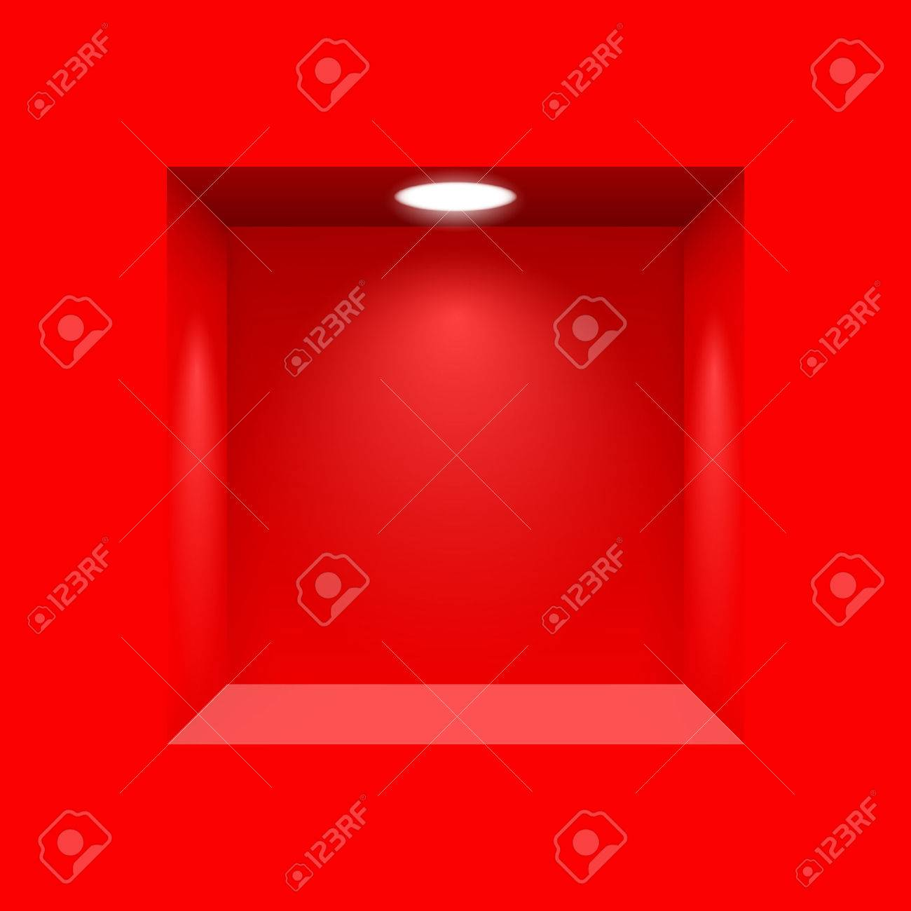 Red niche for presentations with illuminated  light lamp Stock Vector - 41066949
