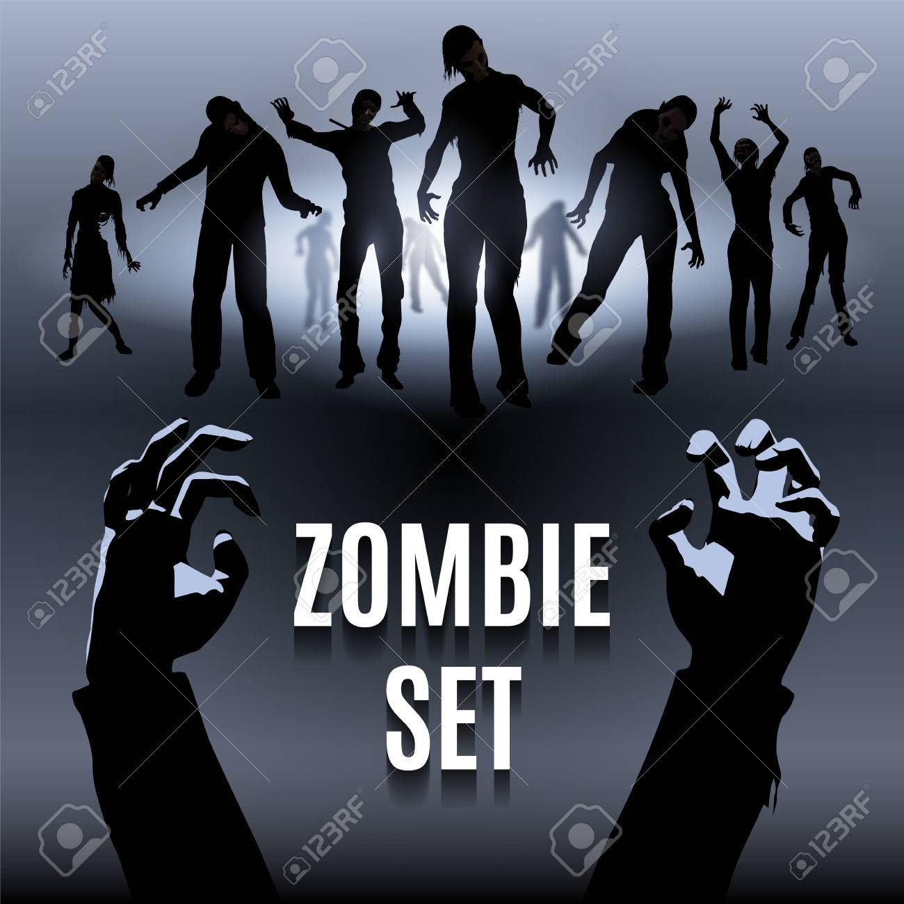 Set of zombie male and female black silhouette walk Stock Vector - 41609276