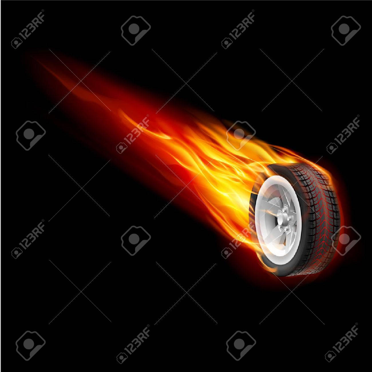 Fire wheel isolated on black background for design Stock Vector - 43819545