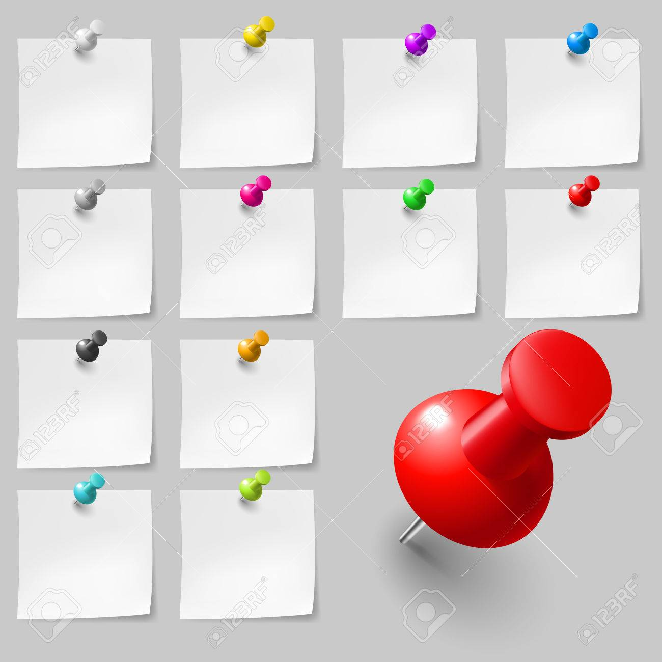 Set of Blank sticky notes with pushpins on gray background - 44152984