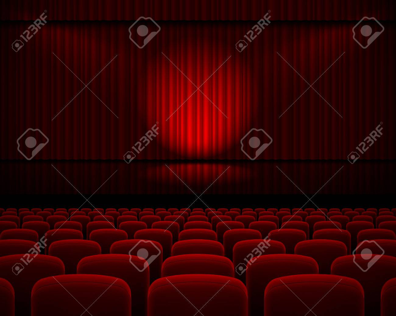 Red Curtain From The Theatre With A Spotlight And Row Chairs Stock Vector    44153039