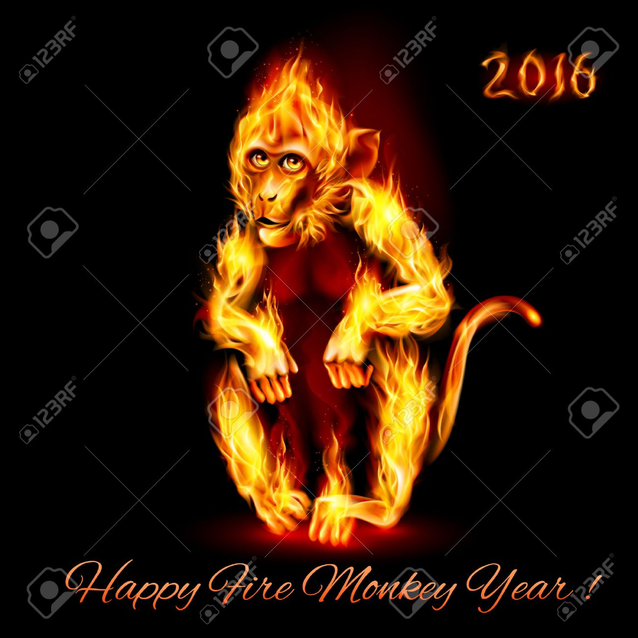 Year Of The Red Fire Monkey. Greeting Card on black background Stock Vector - 45429096