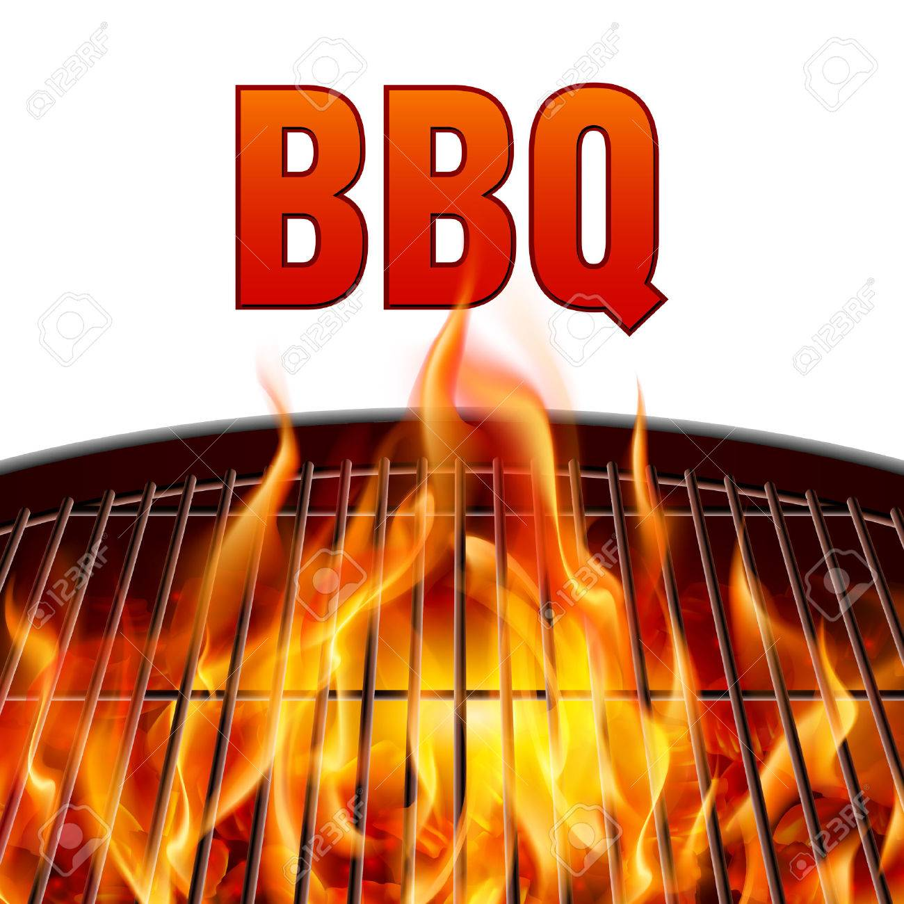 Closeup BBQ grill fire on white background Stock Vector - 48126368