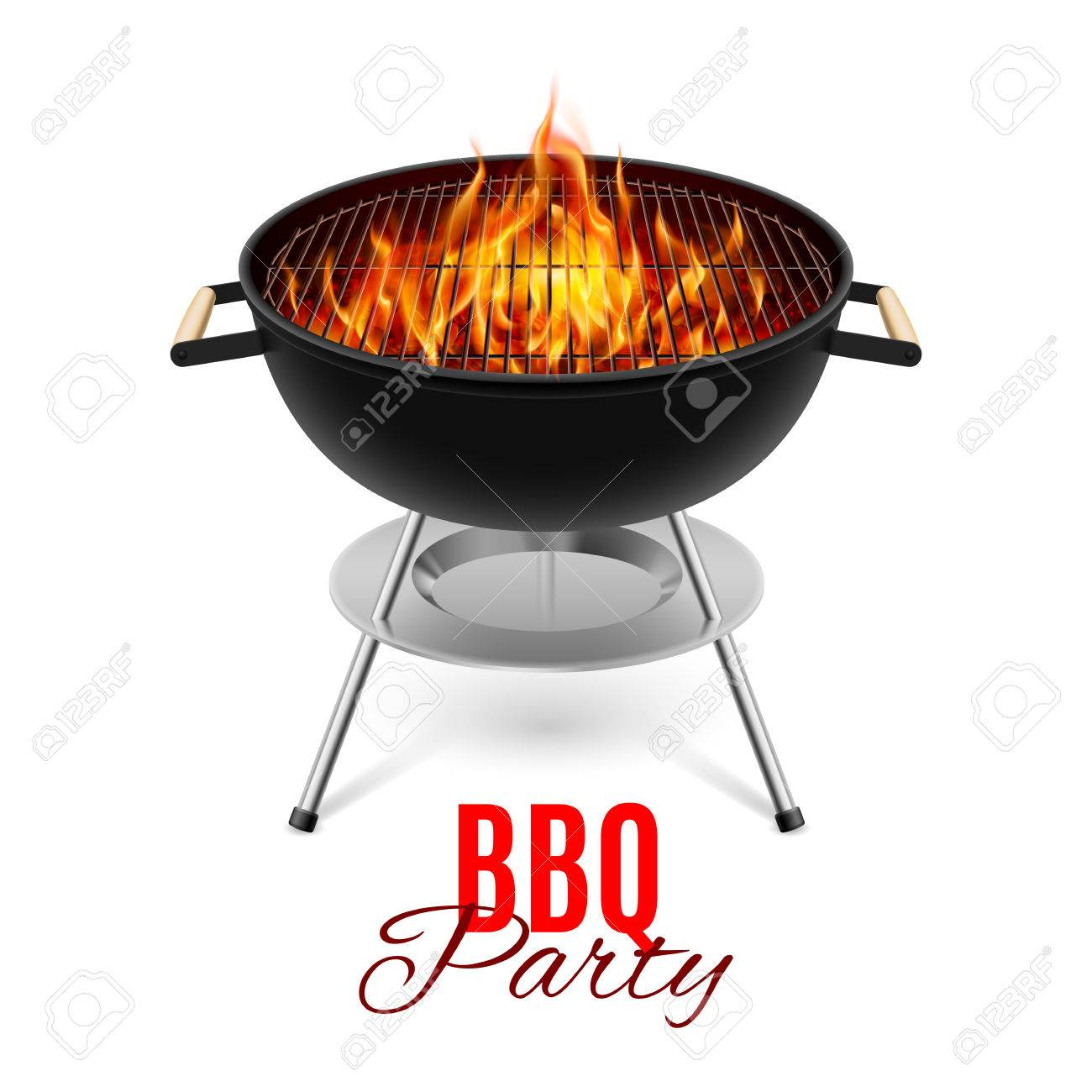 BBQ party banner grill with fire isolated on white Stock Vector - 48126373