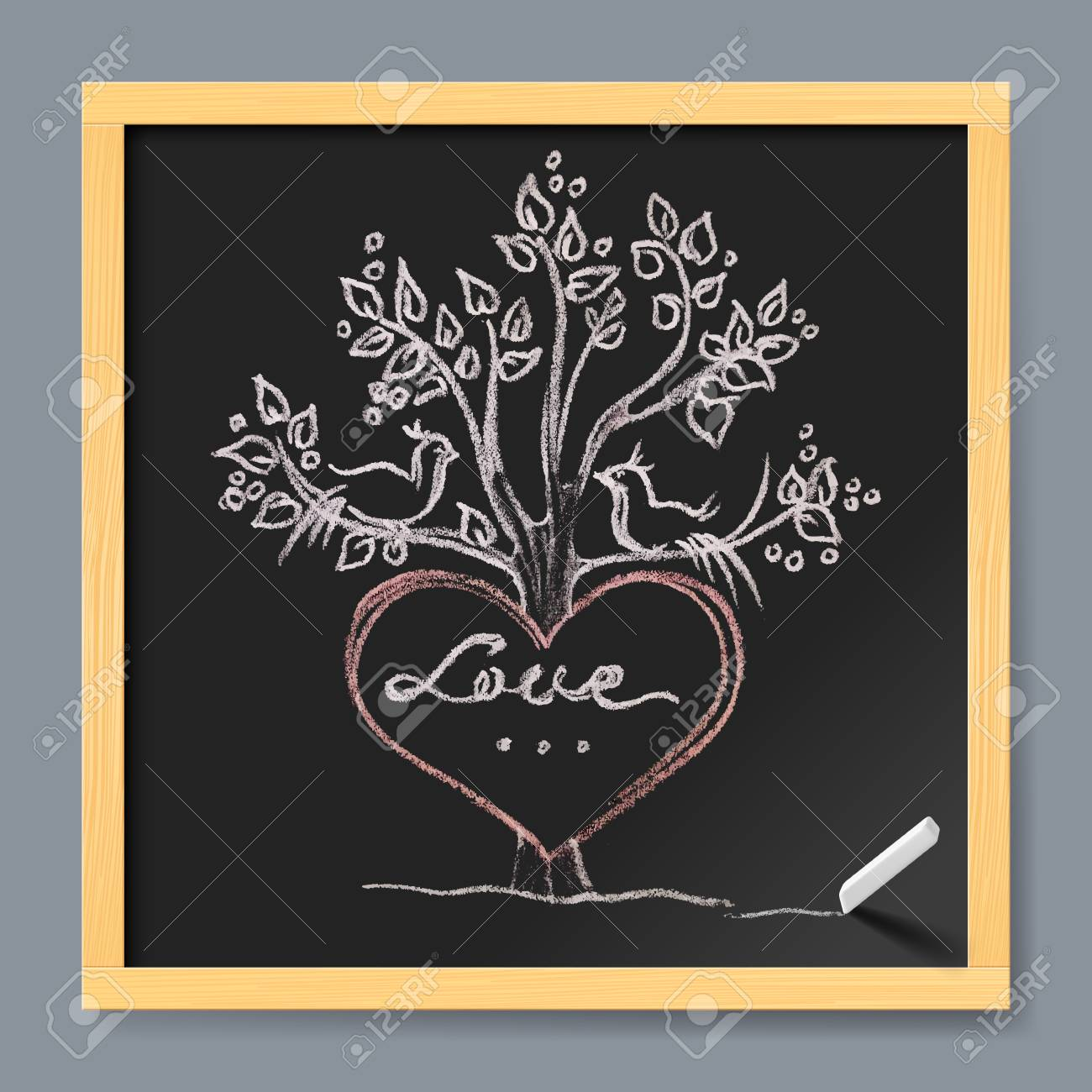 Drawing board greeting cards image collections greeting card examples valentines day greeting card hand drawn heart tree and birds valentines day greeting card hand drawn kristyandbryce Choice Image